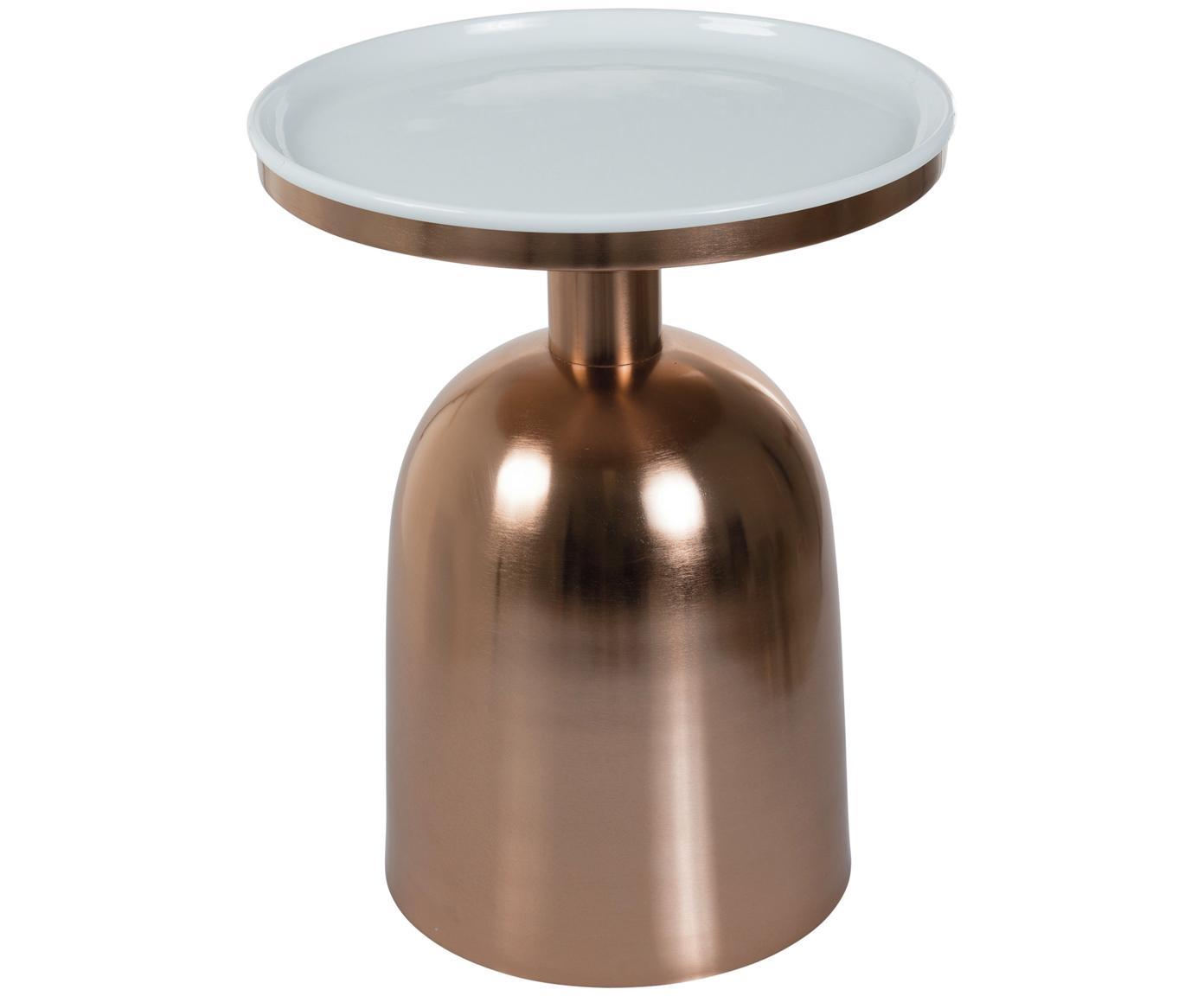 Stolik pomocniczy emaliowany Ikon, Blat: metal emaliowany, Stelaż: metal lakierowany, Odcienie miedzi, biały, Ø 38 x W 46 cm