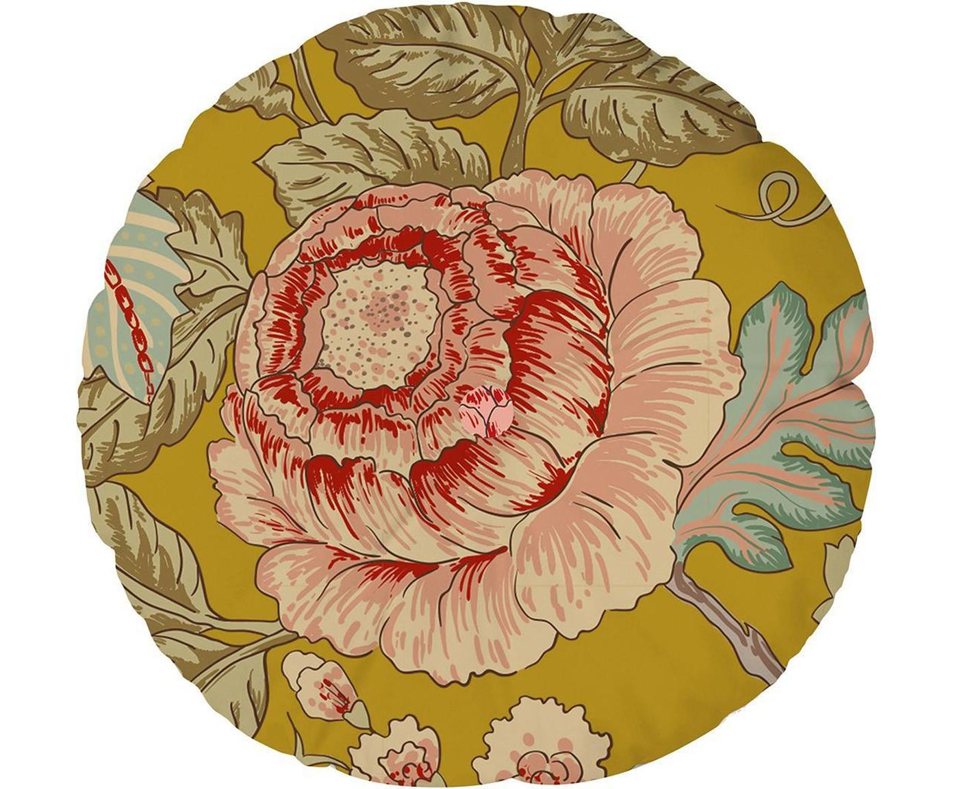 Cojín de terciopelo Japanese Flowers, Terciopelo, Multicolor, Ø 45 cm