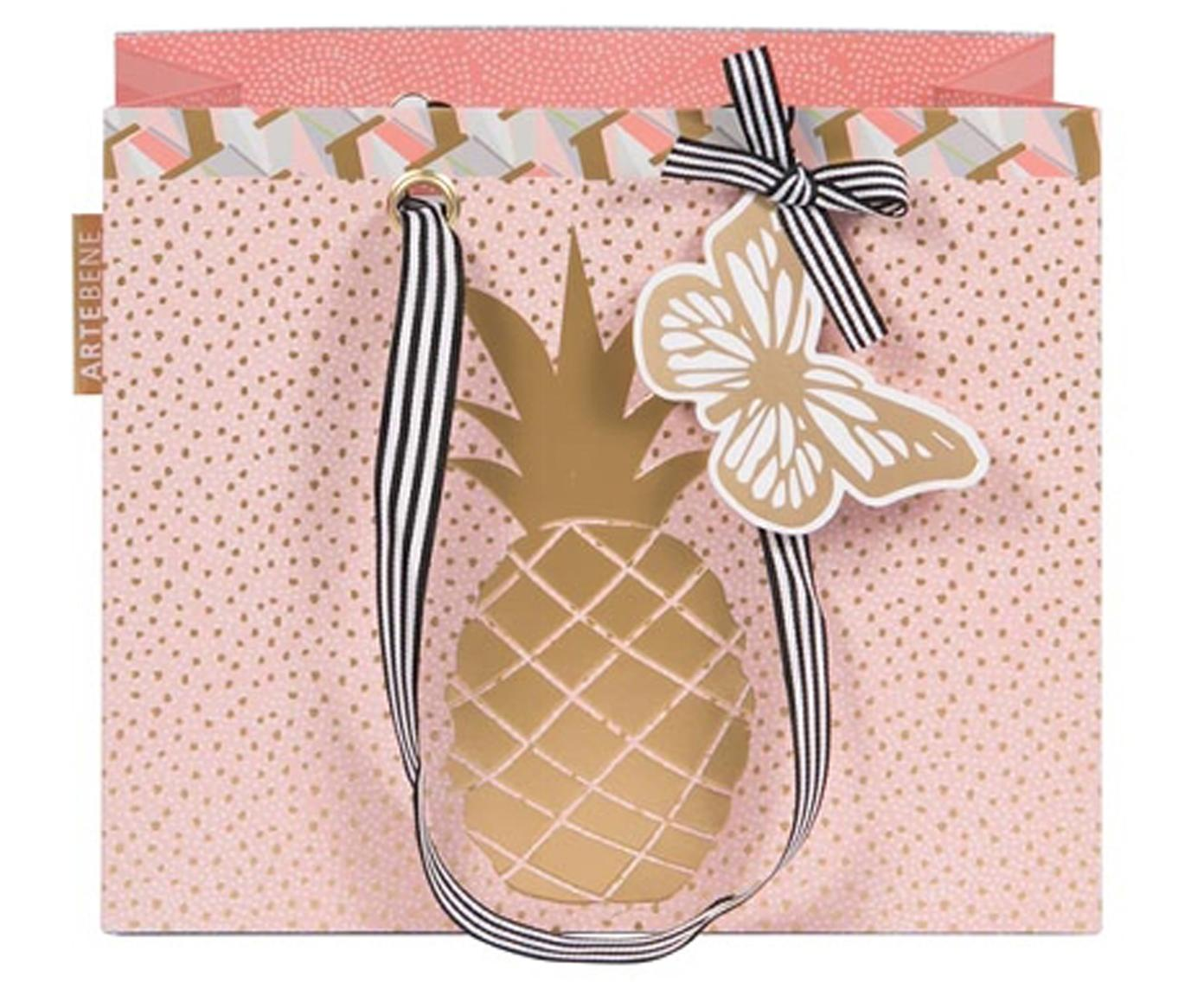 Geschenktasche Pineapple, Tasche: Papier, Griffe: Textil, Rosa, Goldfarben, 22 x 18 cm