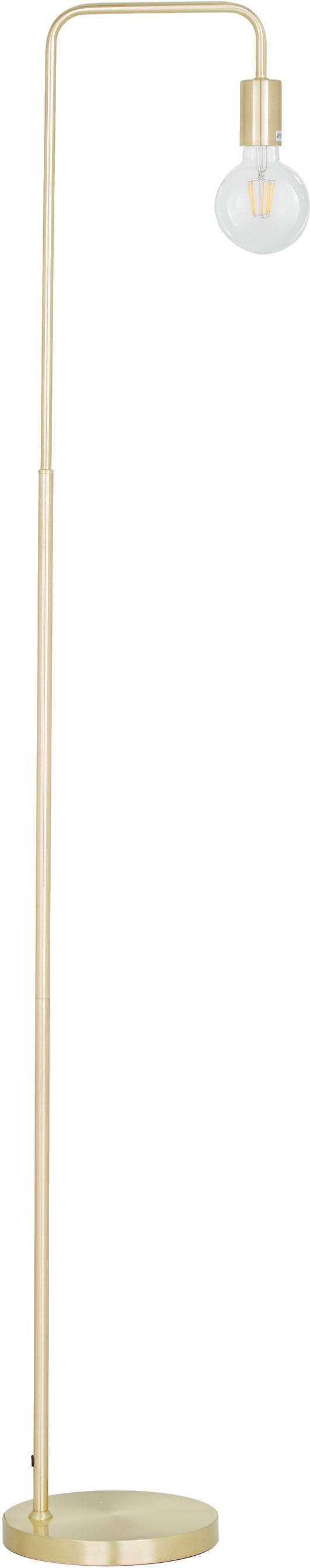 Lámpara de pie de metal Flow, Lámpara: metal, latón, Cable: cubierto en tela, Latón, cepillado, An 33 x Al 153 cm