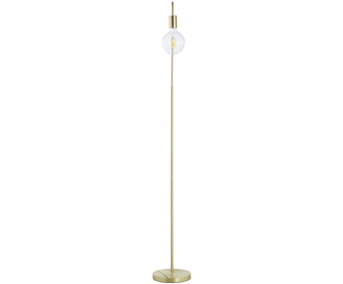Vloerlamp Flow goudkleurig, Frame: vermessingd metaal, Geborsteld messingkleurig, 33 x 153 cm