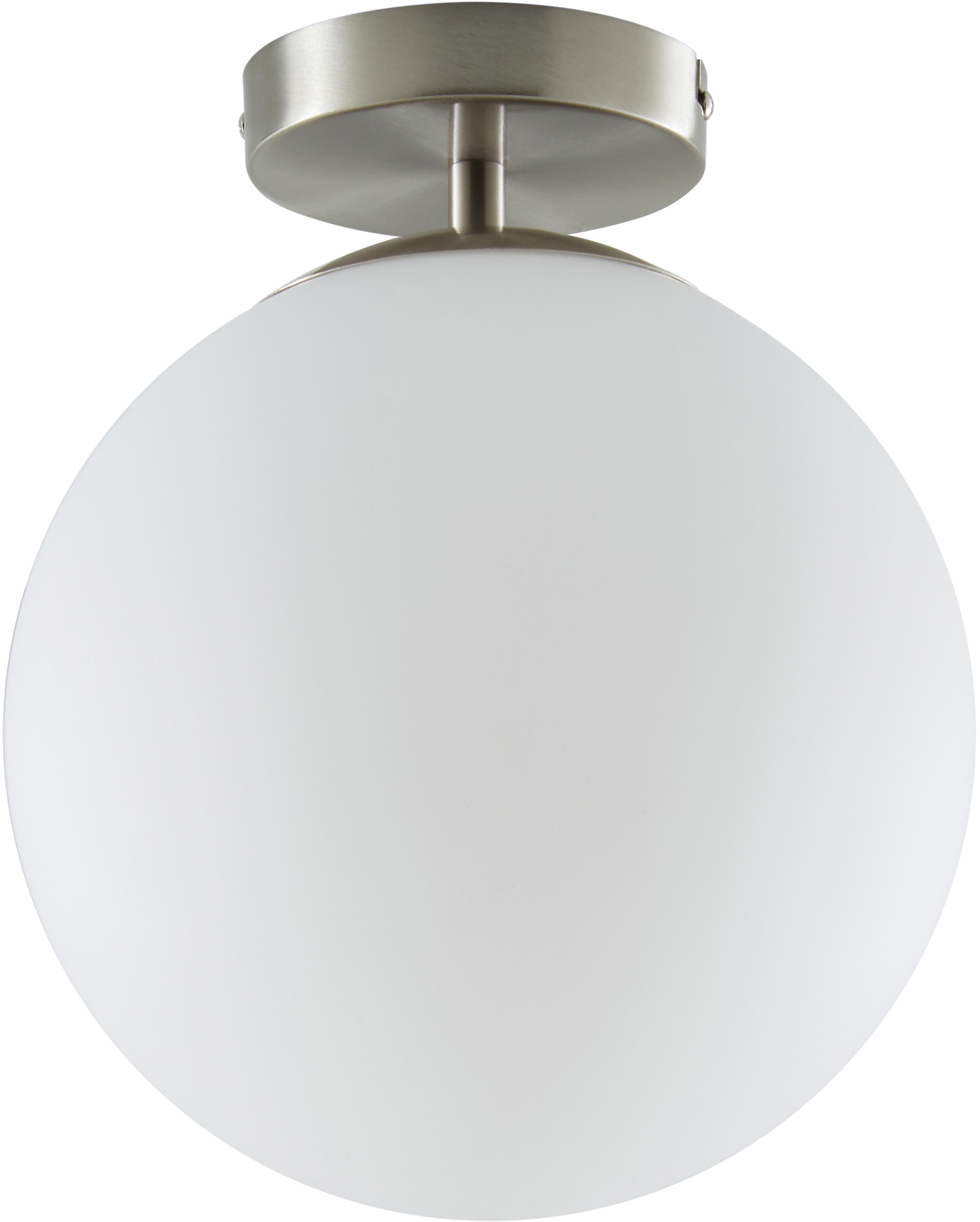 Plafondlamp Hitch, Lampenkap: glas, Baldakijn en fitting: mat zilverkleurig. Lampenkappen: wit, Ø 25 x H 30 cm