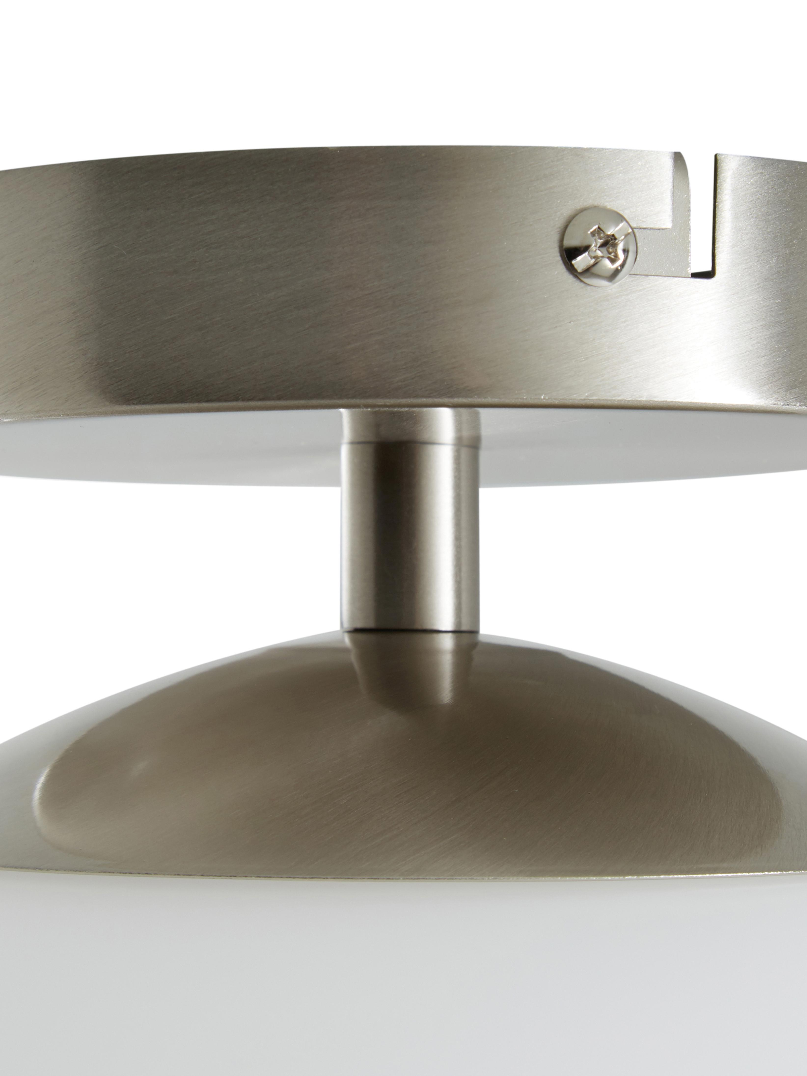 Deckenleuchte Hitch aus Glas, Lampenschirm: Glas, Baldachin und Fassung: Silberfarben, mattLampenschirm: Weiss, Ø 25 x H 30 cm