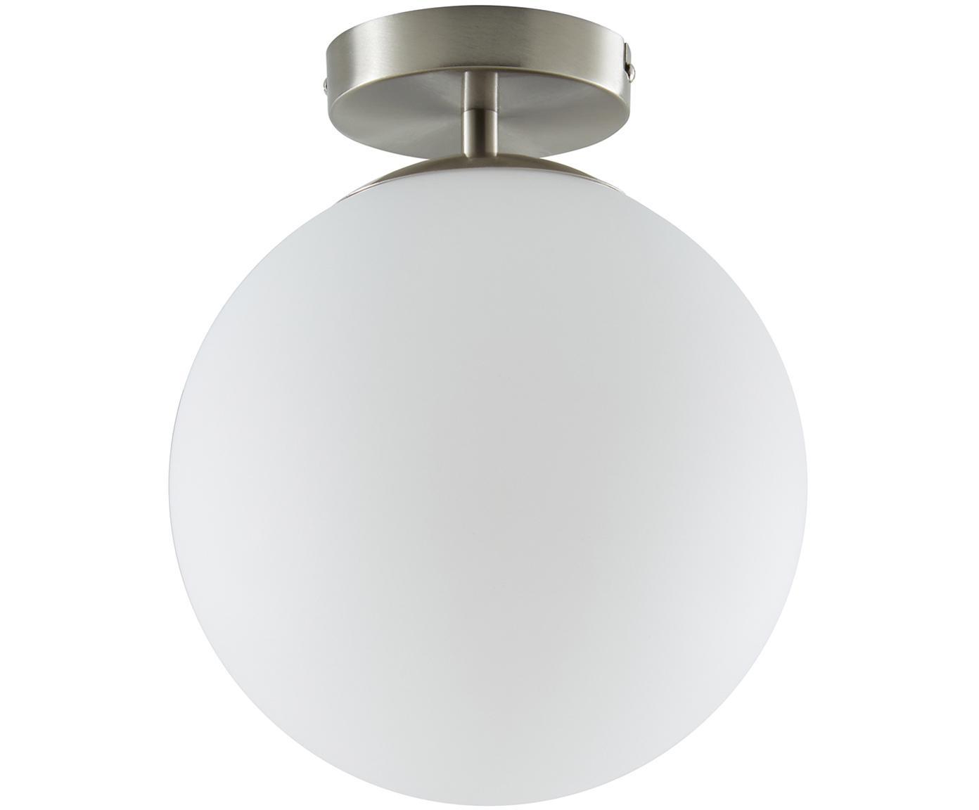 Lampada da soffitto Hitch, Paralume: vetro, Baldacchino e rilegatura: argento opaco Paralume: bianco, Ø 25 x Alt. 30 cm