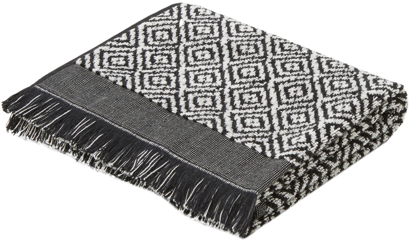 Ręcznik Morocco, Czarny, biały, Ręcznik do rąk