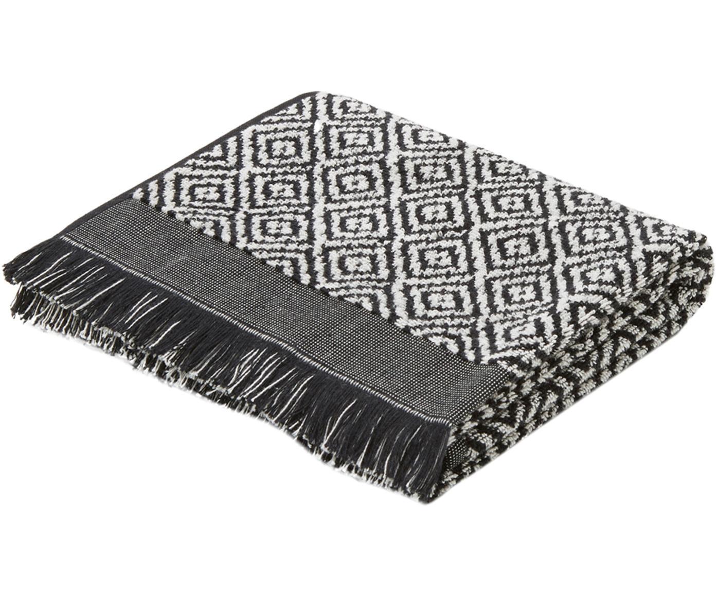 Handtuch Morocco in verschiedenen Grössen, mit Rautenmuster, Schwarz, Weiss, Handtuch