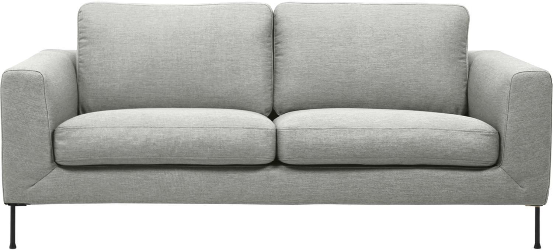 Sofa Cucita (2-Sitzer), Bezug: Webstoff (Polyester) Der , Gestell: Massives Kiefernholz, Füße: Metall, lackiert, Webstoff Hellgrau, B 187 x T 94 cm