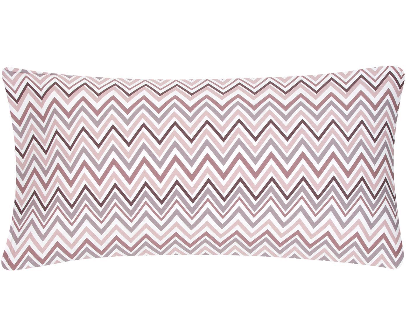Baumwollsatin-Kissenbezüge Maui mit Zickzack-Muster, 2 Stück, Webart: Satin Fadendichte 200 TC,, Weiß, Mauve, 40 x 80 cm