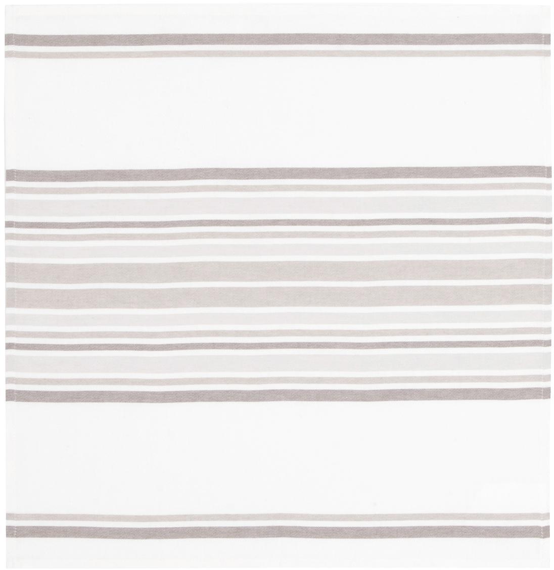Stoffen servetten Katie, 2 stuks, Katoen, Wit, beige, 50 x 50 cm