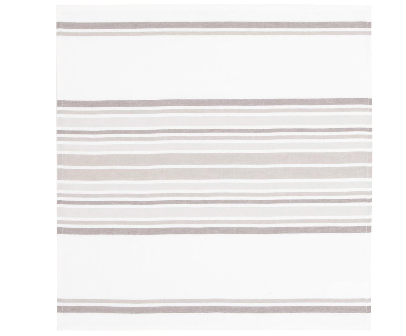 Baumwoll-Servietten Katie, 2 Stück, Baumwolle, Weiss, Beige, 50 x 50 cm
