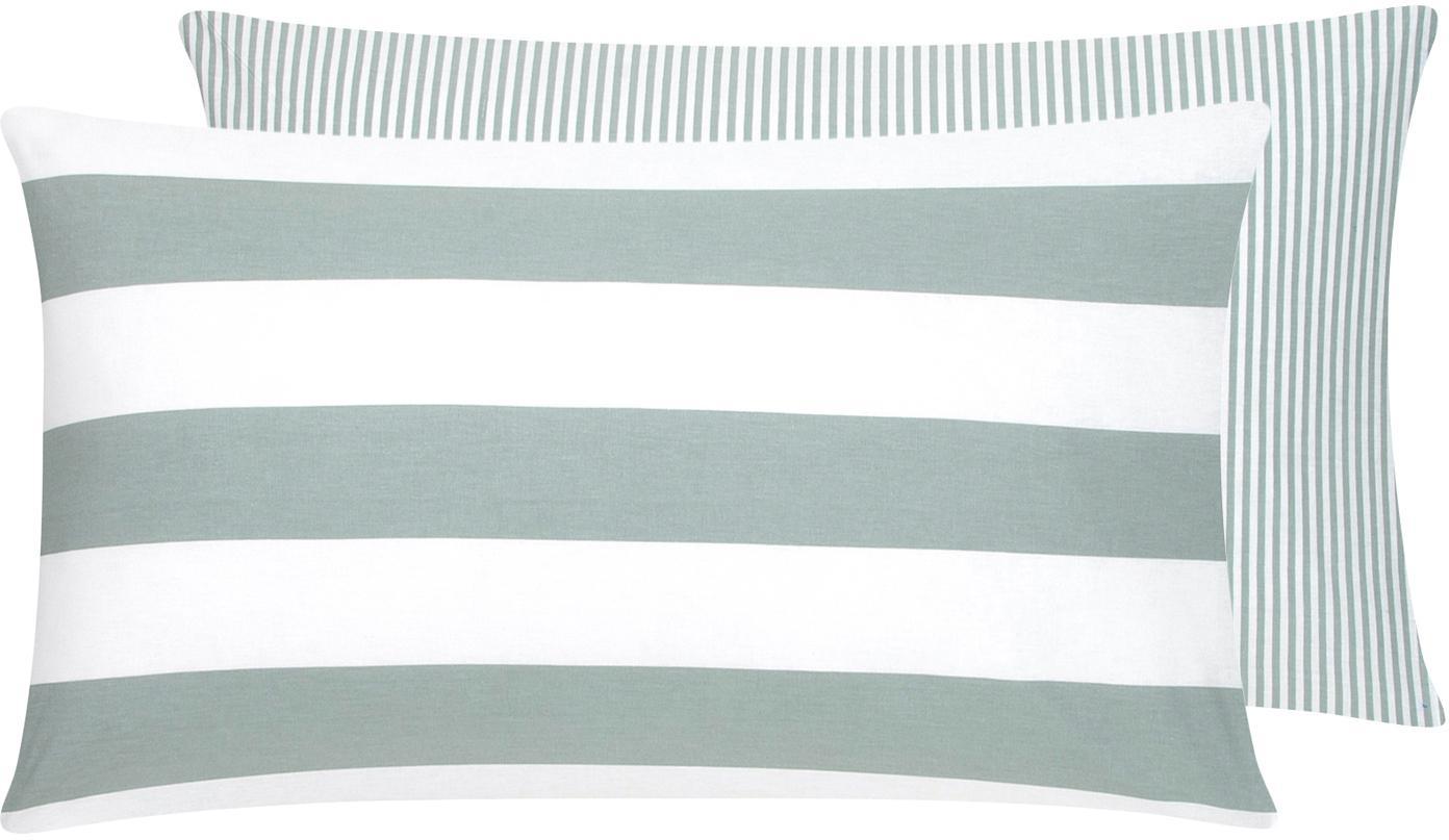 Funda de almohada de tejido renforcé Lorena, caras distintas, Verde salvia, blanco, An 50 x L 70 cm