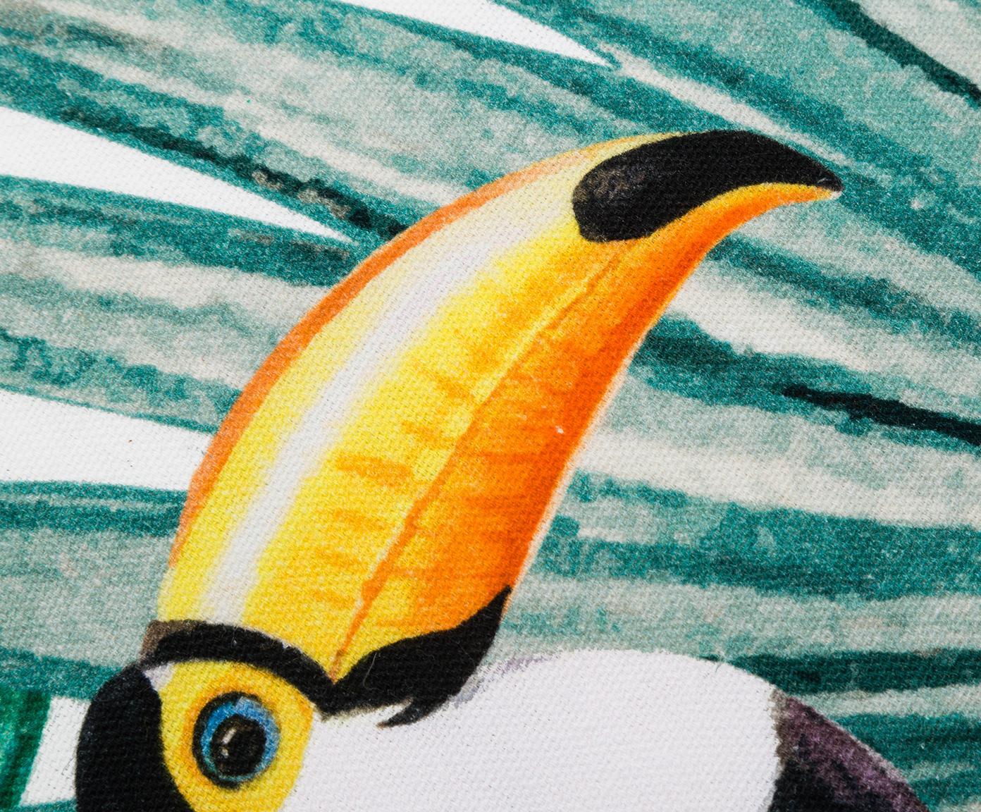 Kissenhülle Polly mit tropischem Print in Bunt, 100% Baumwolle, Mehrfarbig, Weiß, 40 x 40 cm