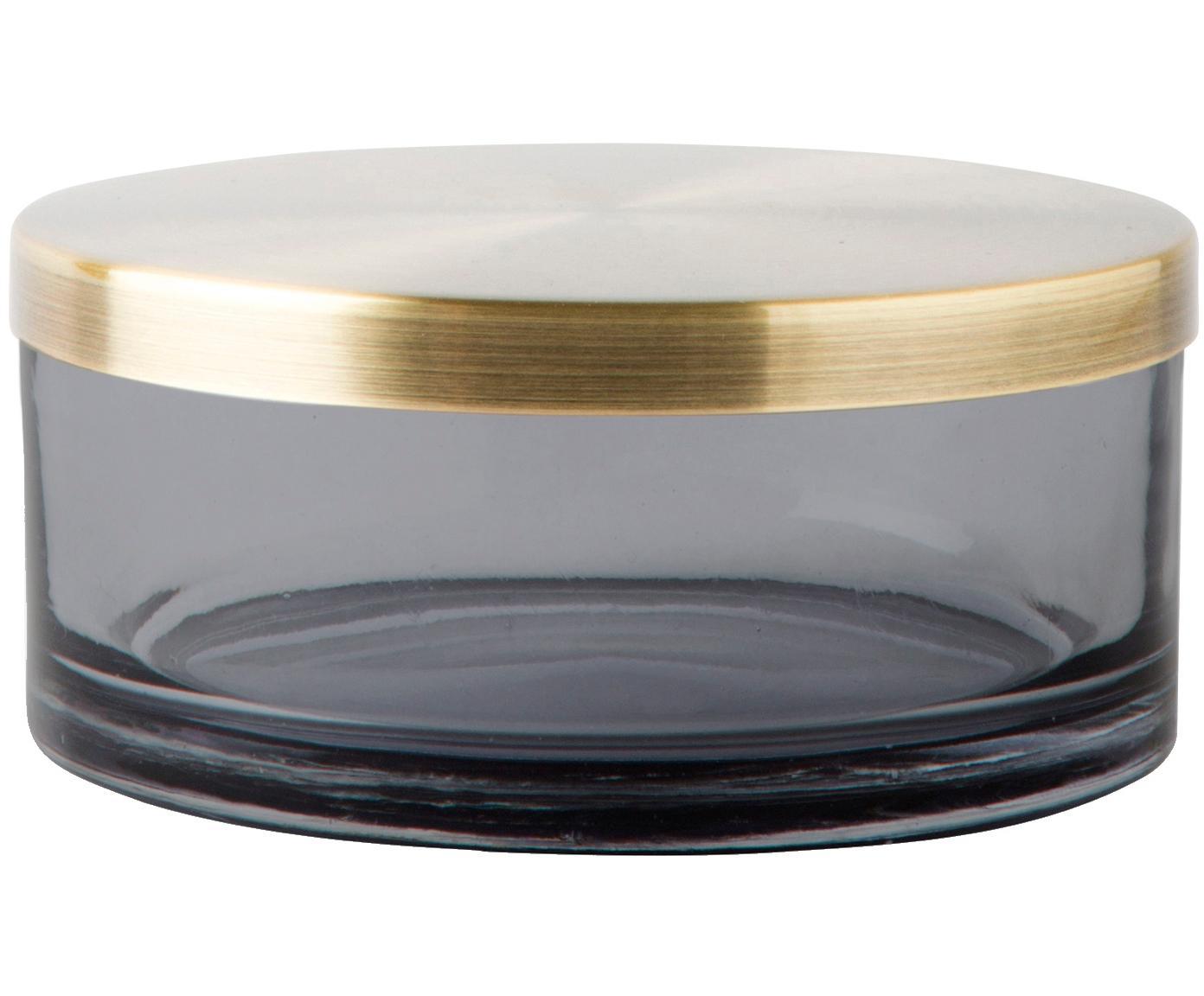 Aufbewahrungsdose Venezia, Behälter: Glas, Deckel: Metall, vermessingt, Schwarz, Messingfarben, Ø 11 x H 5 cm