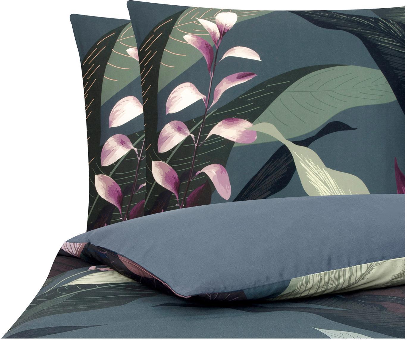 Parure copripiumino reversibile in raso di cotone Flora, Tessuto: raso Densità del filo 210, Fronte: multicolore Retro: grigio scuro, 200 x 200 cm