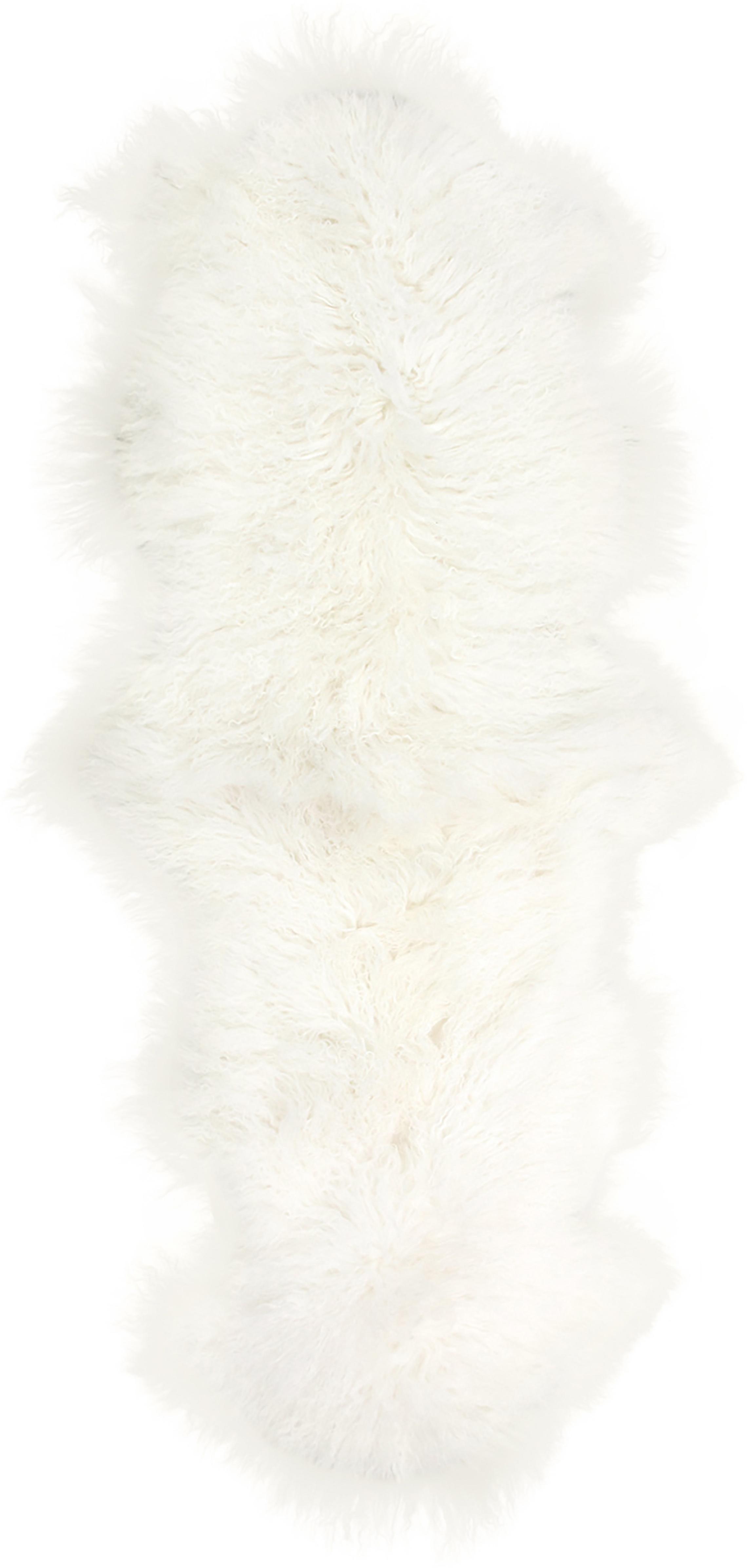 Langhaar-Lammfell-Teppich Ella, gelockt, Vorderseite: Mongolisches Lammfell, Rückseite: Leder, Naturweiss, 50 x 160 cm