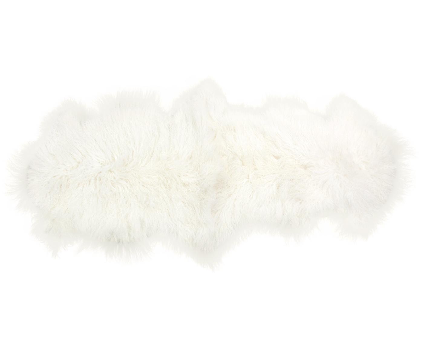 Langharige schapenvacht Ella, gekruld, Bovenzijde: Mongoolse schapenvacht, Onderzijde: leer, Gebroken wit, 50 x 160 cm