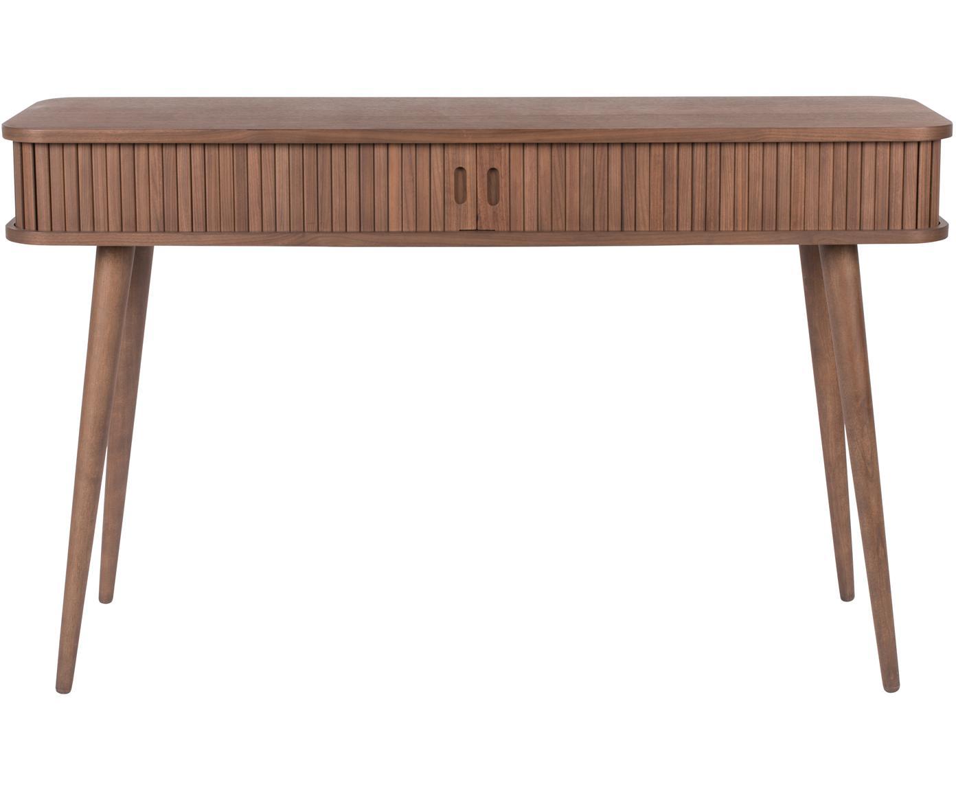 Konsola  z drewna Barbier, Korpus: płyta pilśniowa średniej , Drewno orzechowe, S 120 x G 35 cm