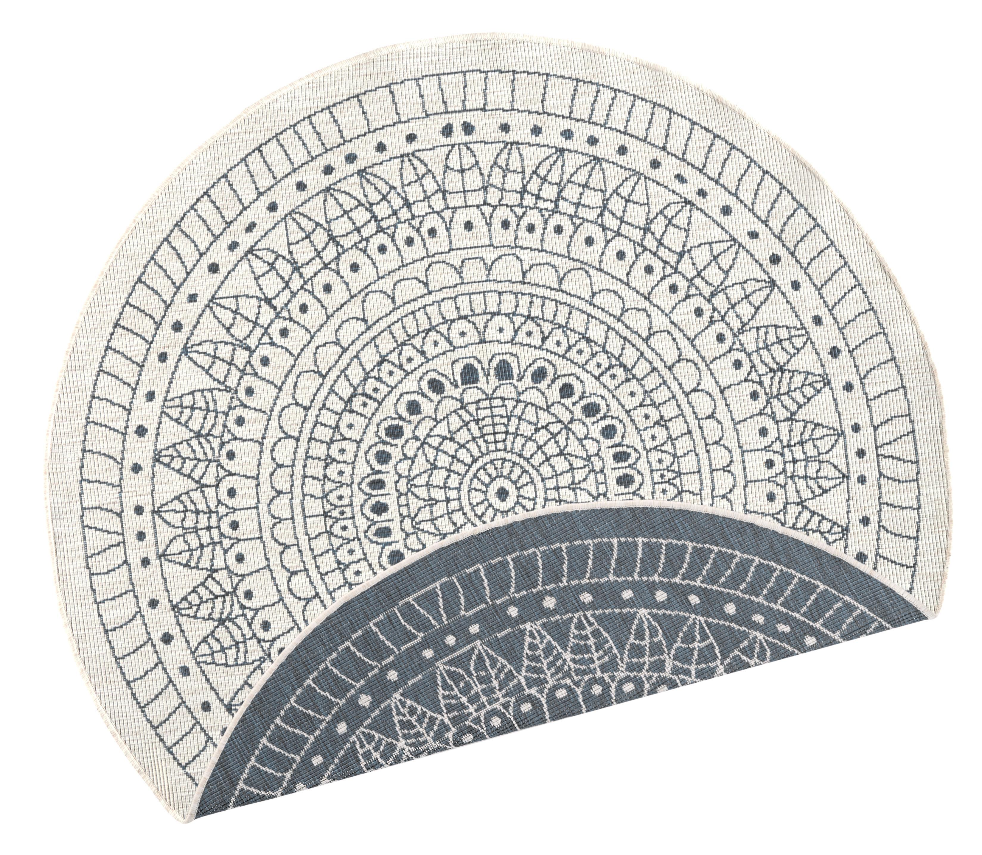 Runder In- & Outdoor-Wendeteppich Porto in Grau/Creme, gemustert, Grau, Cremefarben, Ø 140 cm (Größe M)