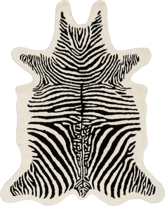 Handgetufteter Wollteppich Savanna Zebra, Flor: 100% Wolle, Schwarz, Creme, B 95 x L 120 cm (Grösse XS)