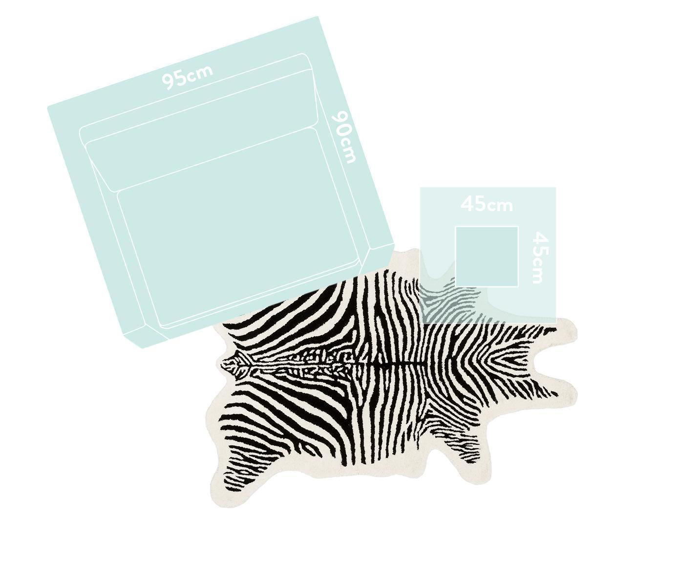 Ręcznie tuftowany dywan z wełny Savanna Zebra, Czarny, kremowy, S 95 x D 120 cm