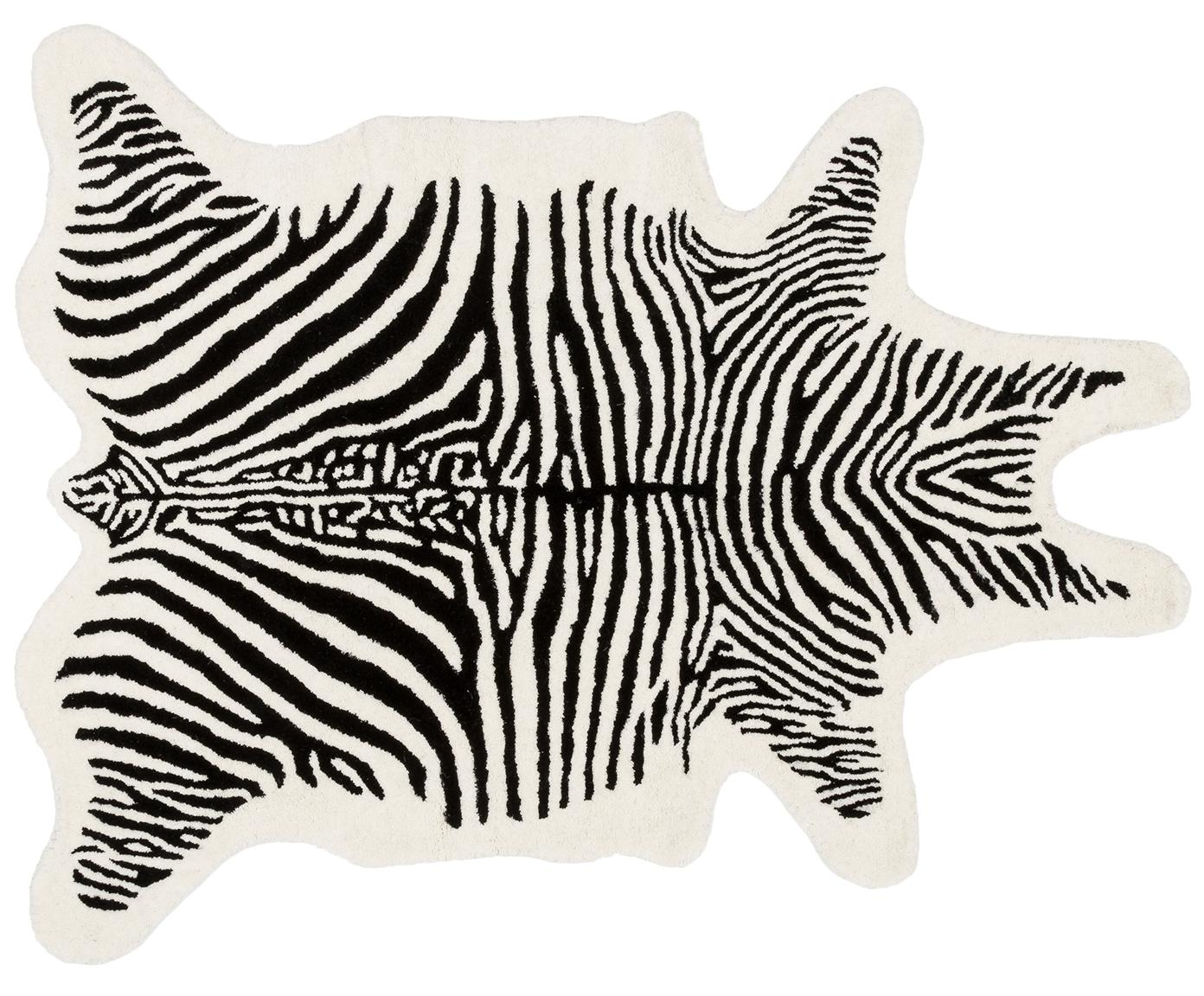 Handgetuft wollen vloerkleed Savanna, Bovenzijde: 100% wol, Onderzijde: 100% katoen, Zwart, crèmekleurig, 95 x 120 cm