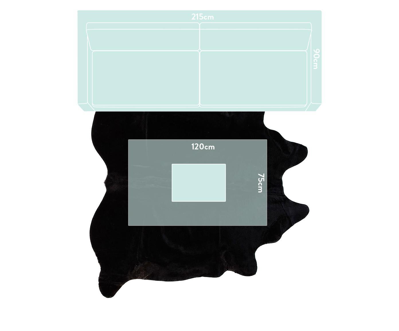 Kuhfell-Teppich Lana, Kuhfell, Schwarz, 180 x 200 cm