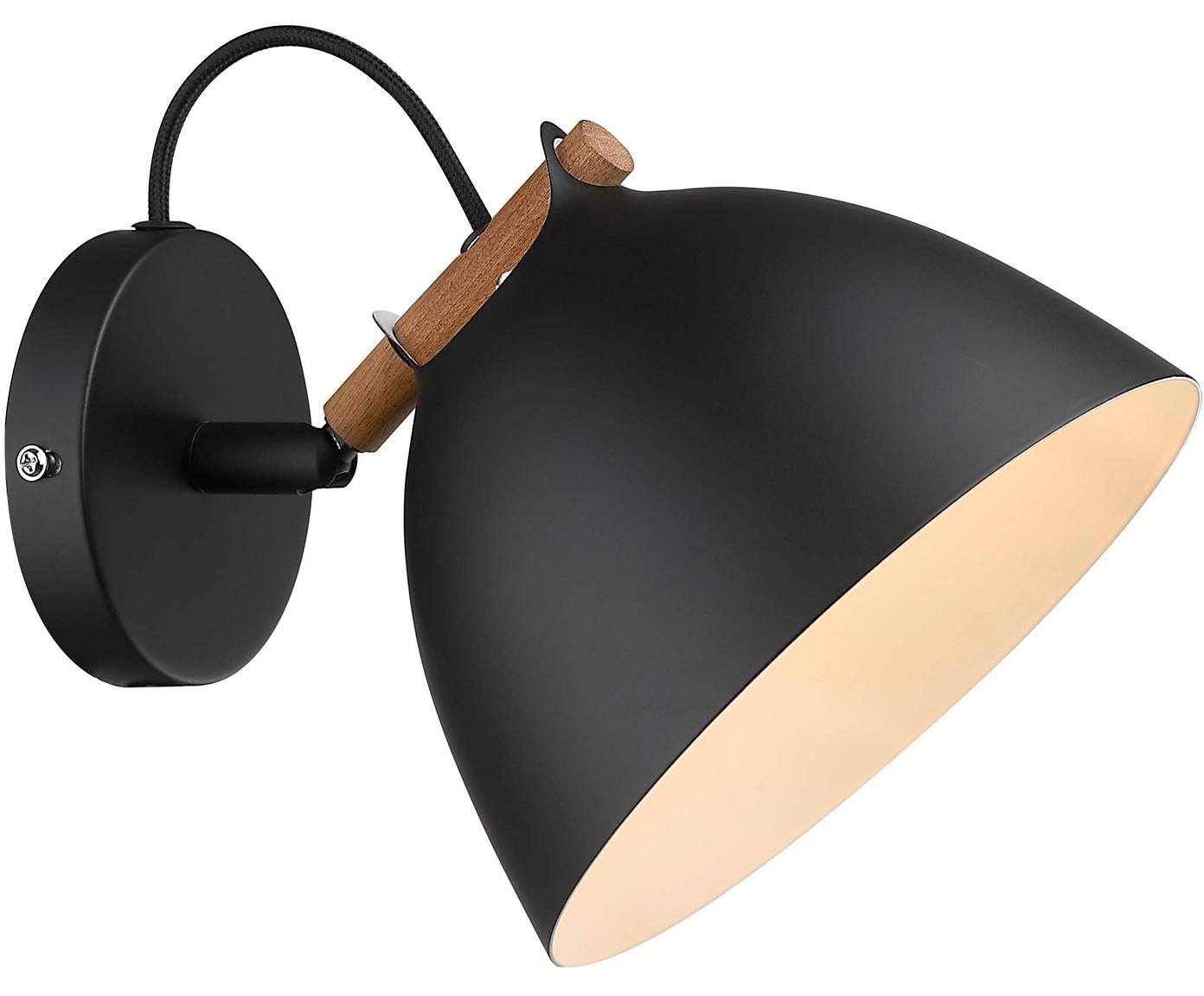 Wandlamp Århus, Gecoat metaal, hout, Zwart, houtkleurig, 18 x 14 cm