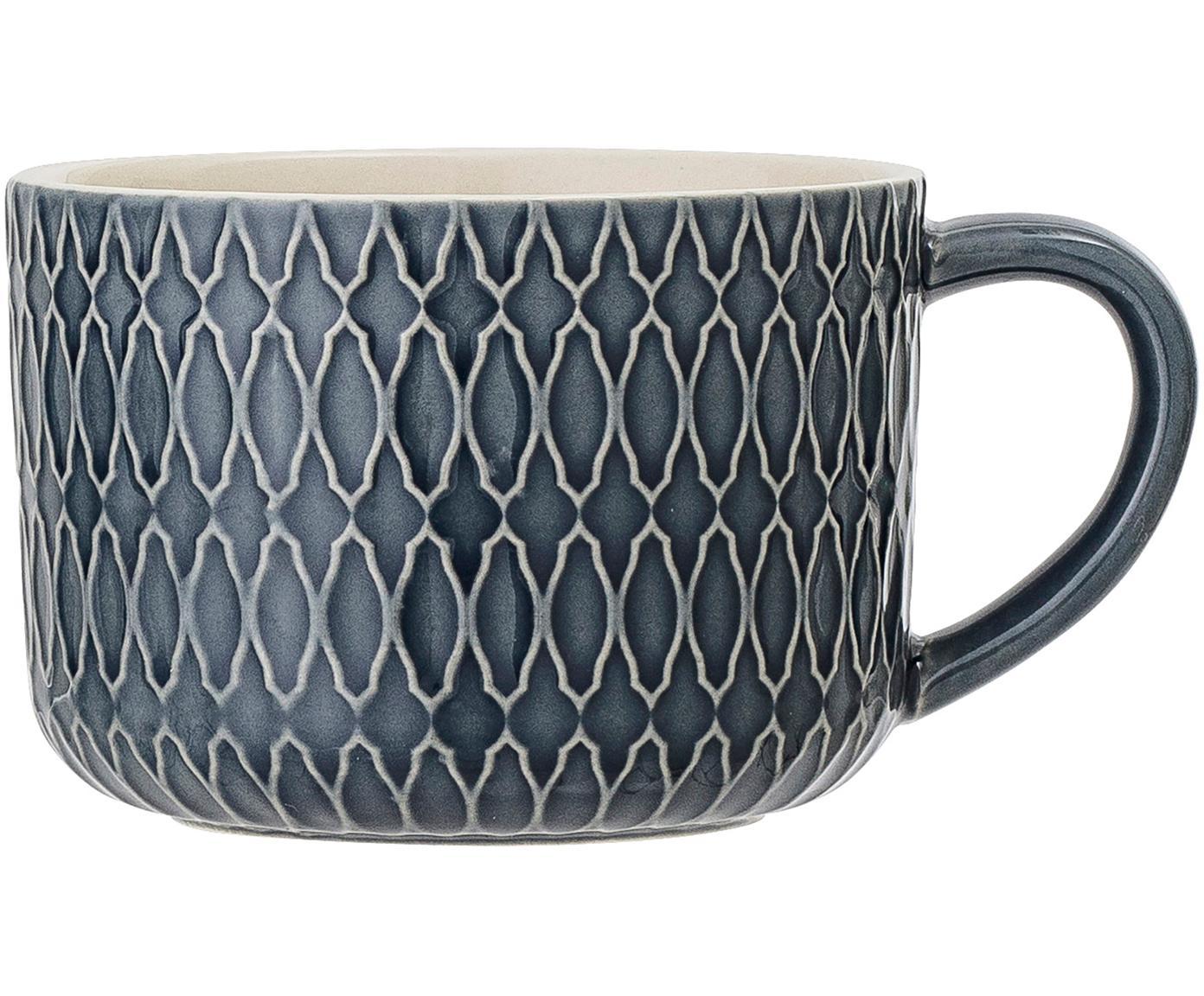 Gemusterte Tassen Naomi in Dunkelblau, 4 Stück, Steingut, Blau, Weiß, Ø 10 x H 7 cm