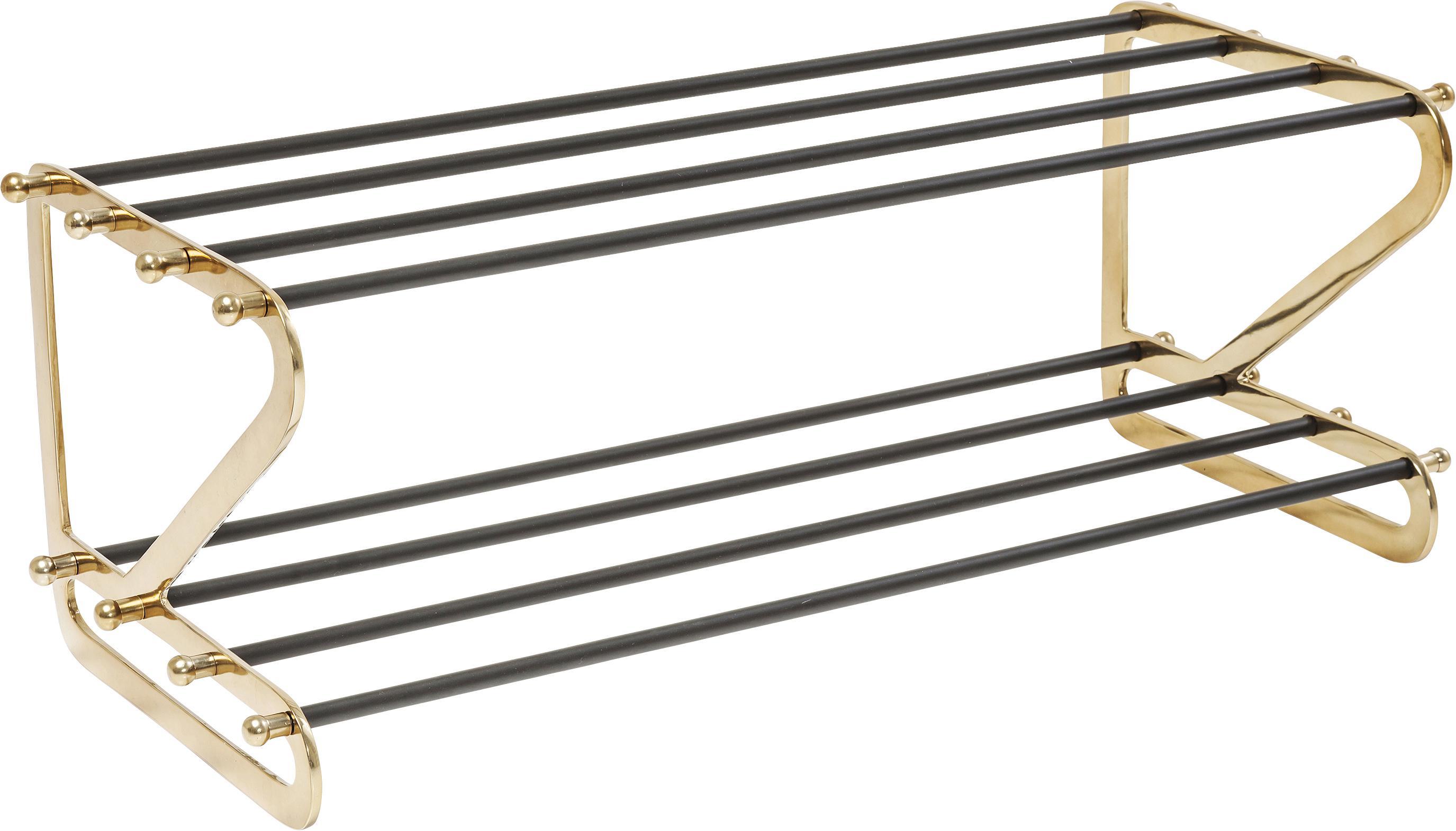 Metall-Schuhregal Walk mit 2 Ablageflächen, Gestell: Aluminium, pulverbeschich, Goldfarben, Schwarz, 84 x 34 cm