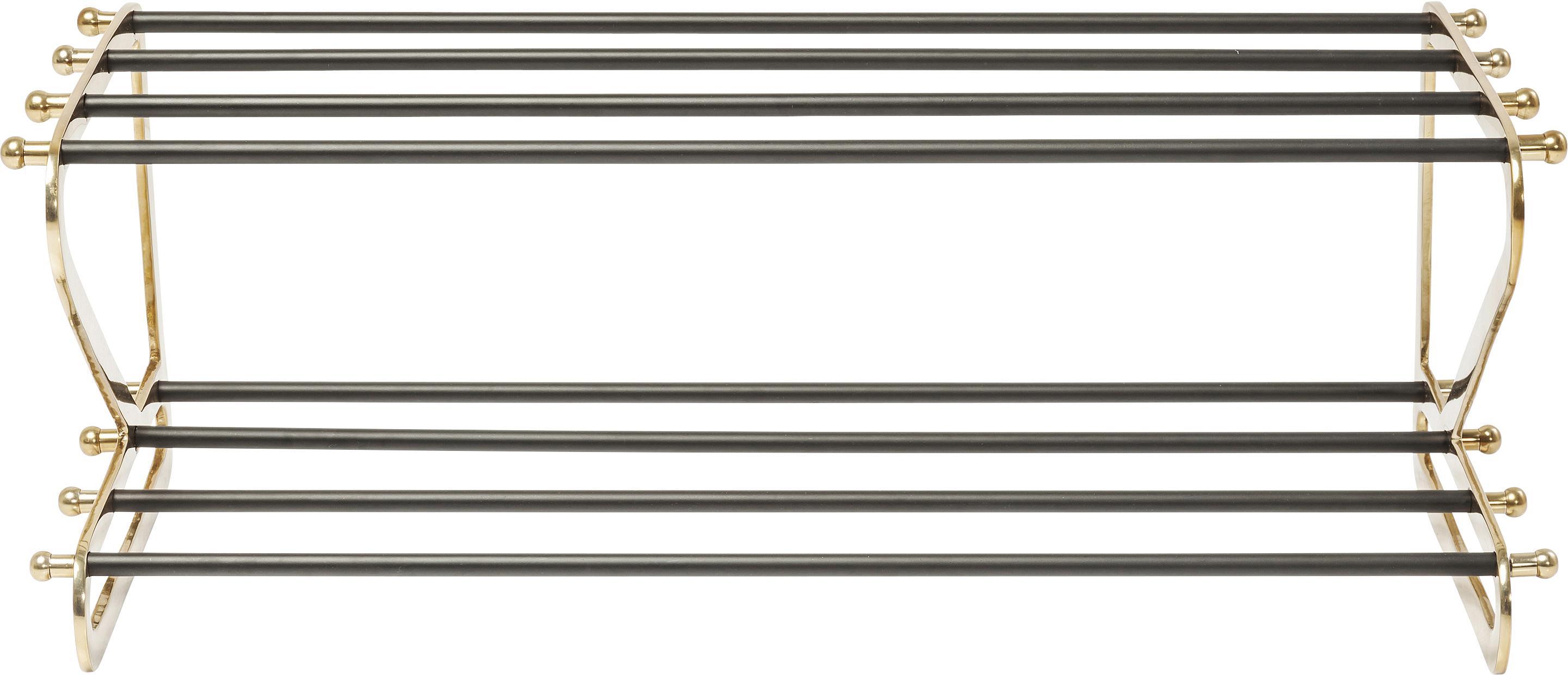 Zapatero Walk, 2 estantes, Estructura: aluminio con pintura en p, Estantes: metal pintado, Dorado, negro, An 84 x Al 34 cm