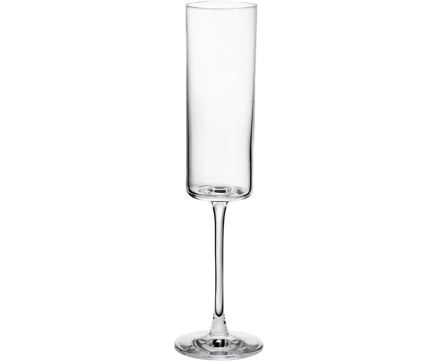 Sektgläser Vino Veritas in edler gerader Form, 6er-Set, Glas, Transparent, Ø 6 x H 23 cm