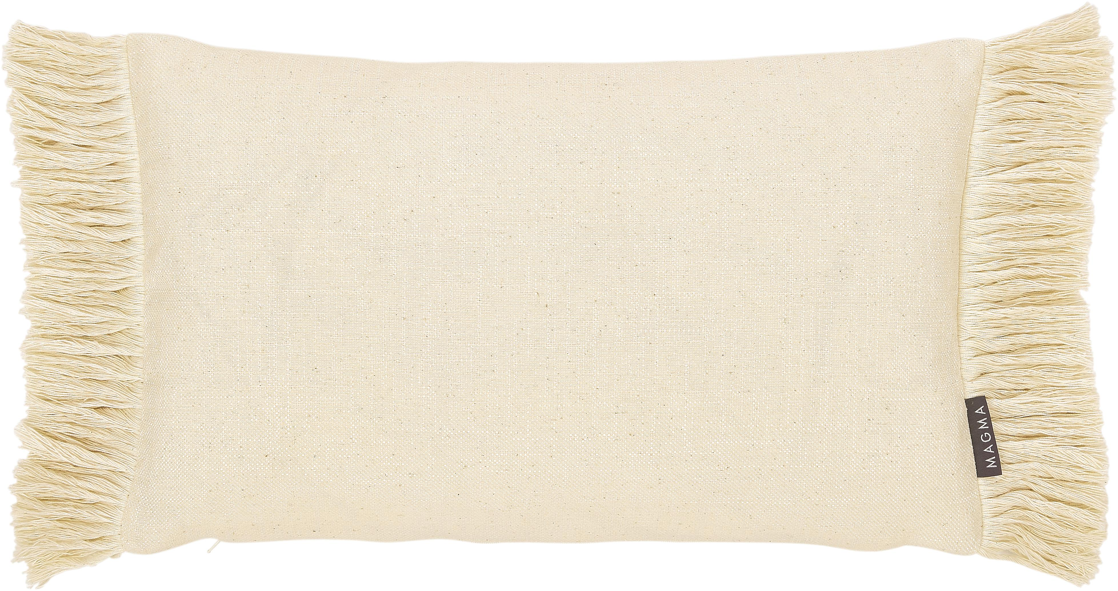 Funda de cojín con flecos Tine, Beige, An 30 x L 50 cm
