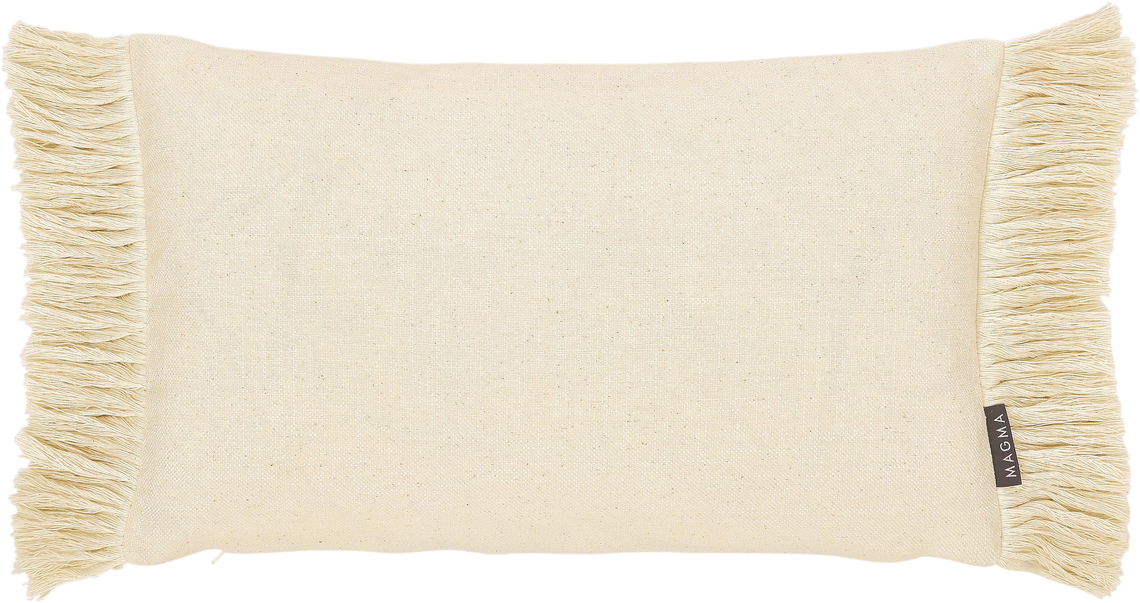 Kussenhoes Tine met franjes, Weeftechniek: jacquard, Beige, 30 x 50 cm