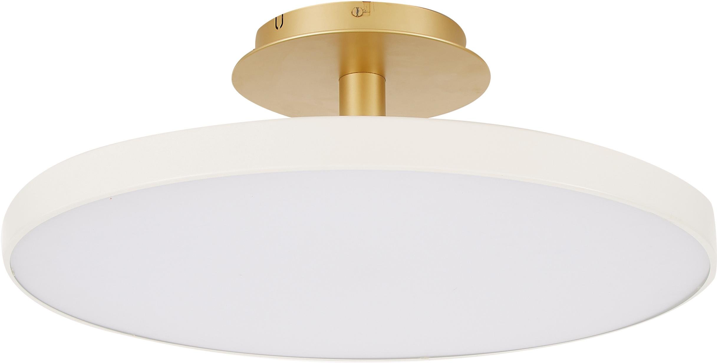 LED plafondlamp Asteria, Lampenkap: aluminium, gelakt, Crèmewit, goudkleurig, Ø 60 x H 21 cm