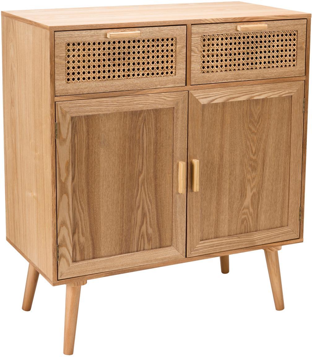 Credenza in legno con intreccio viennese Romeo, Pannello di fibra a media densità (MDF), con finitura in frassino, Legno di frassino, Larg. 75 x Alt. 86 cm