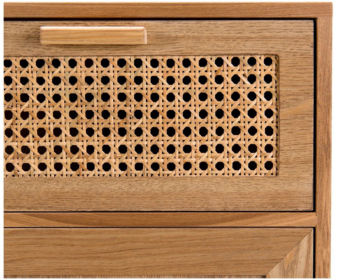 Holz-Kommode Romeo mit Wiener Geflecht, Mitteldichte Holzfaserplatte (MDF), Eschenholzfurnier, Eschenholz, 75 x 86 cm
