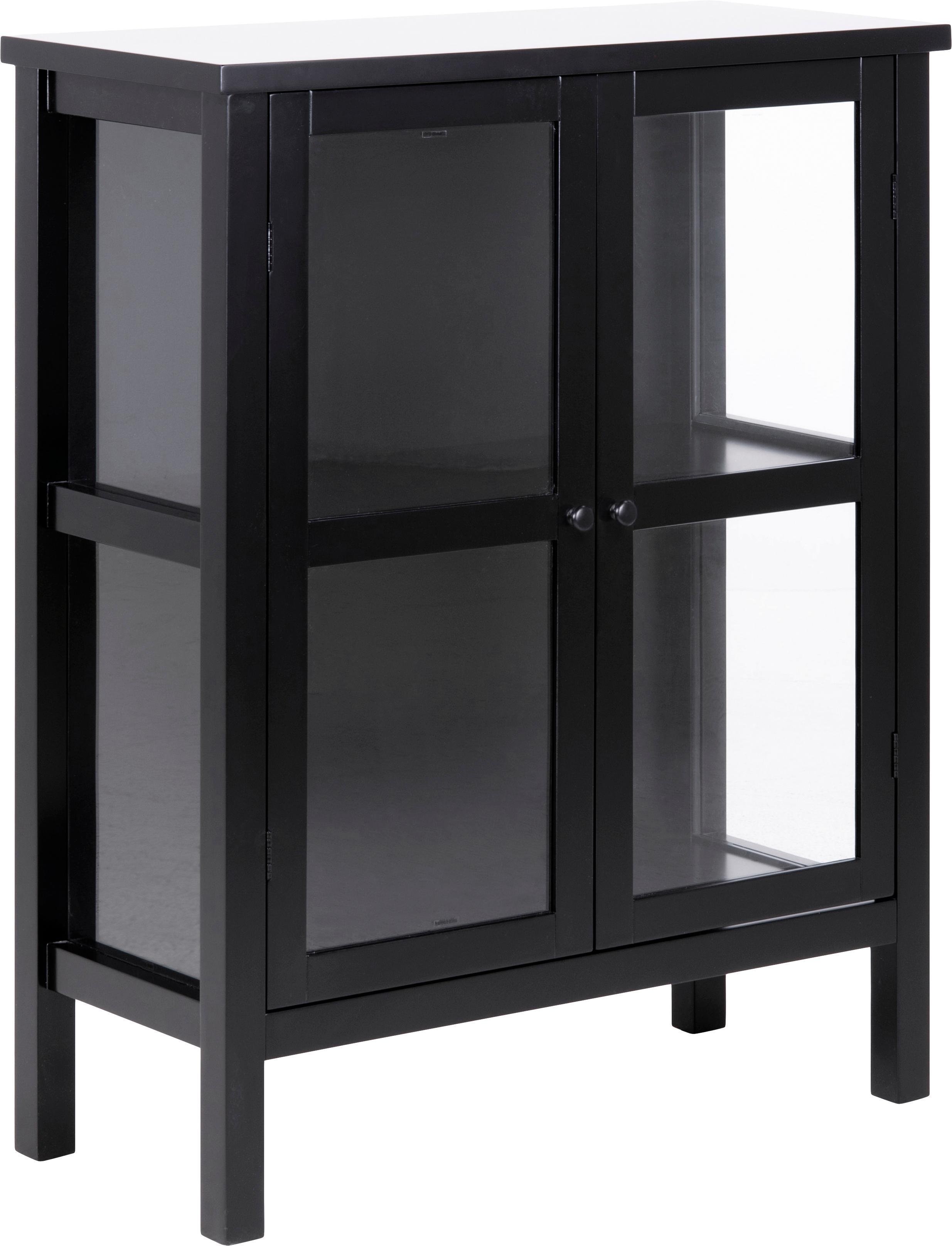 Vitrinekast Eton met houten frame, Frame: MDF, Zwart, 80 x 100 cm