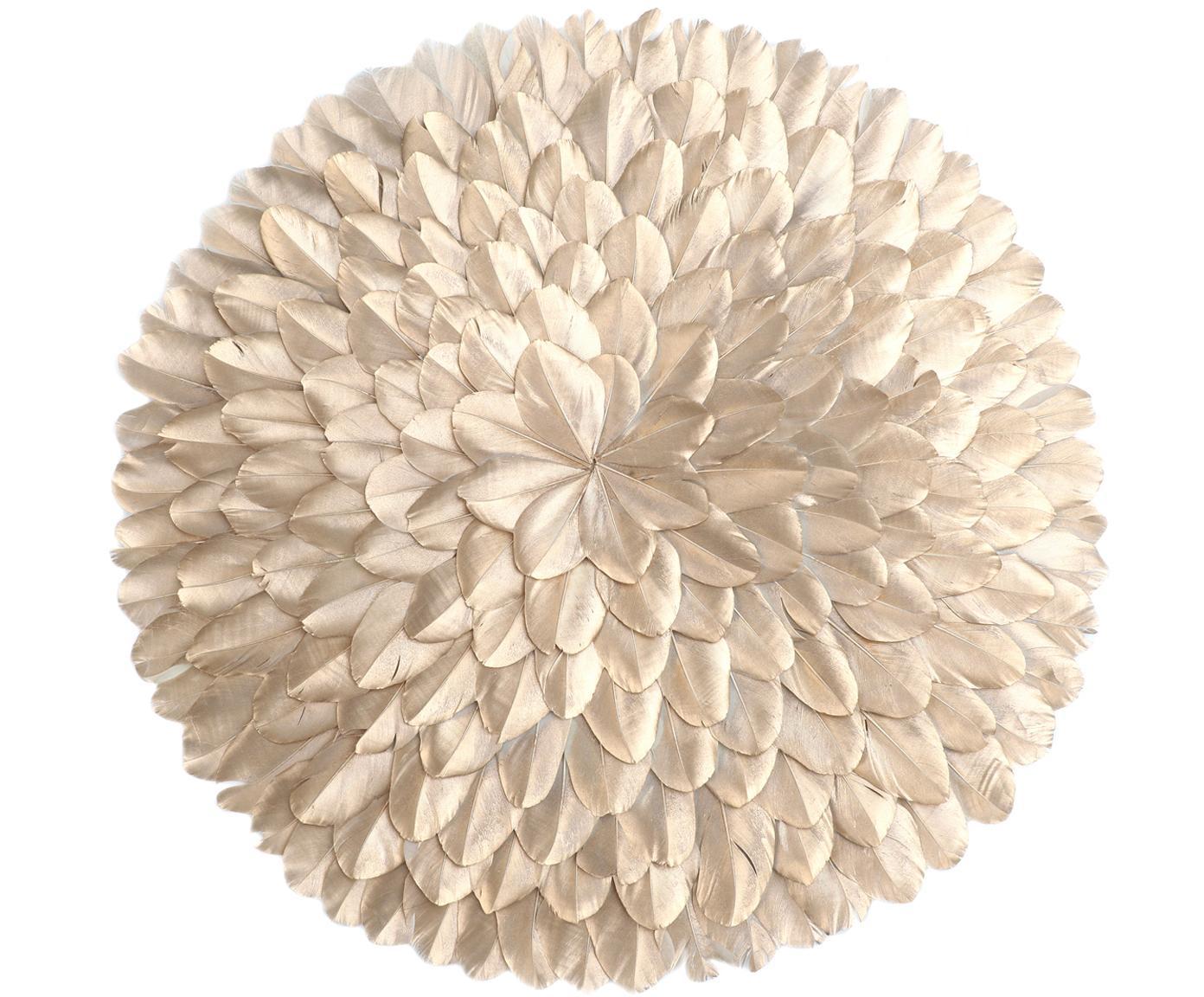 Wandobject Juju, Geverfde veren, Goudkleurig, Ø 40 x D 5 cm