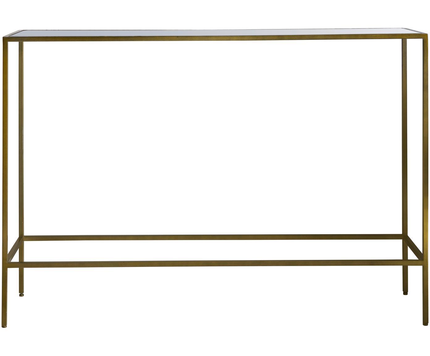 Sidetable Rothbury met glazen plateau, Frame: gelakt metaal, Tafelblad: glas, Bronskleurig, transparant, 110 x 76 cm
