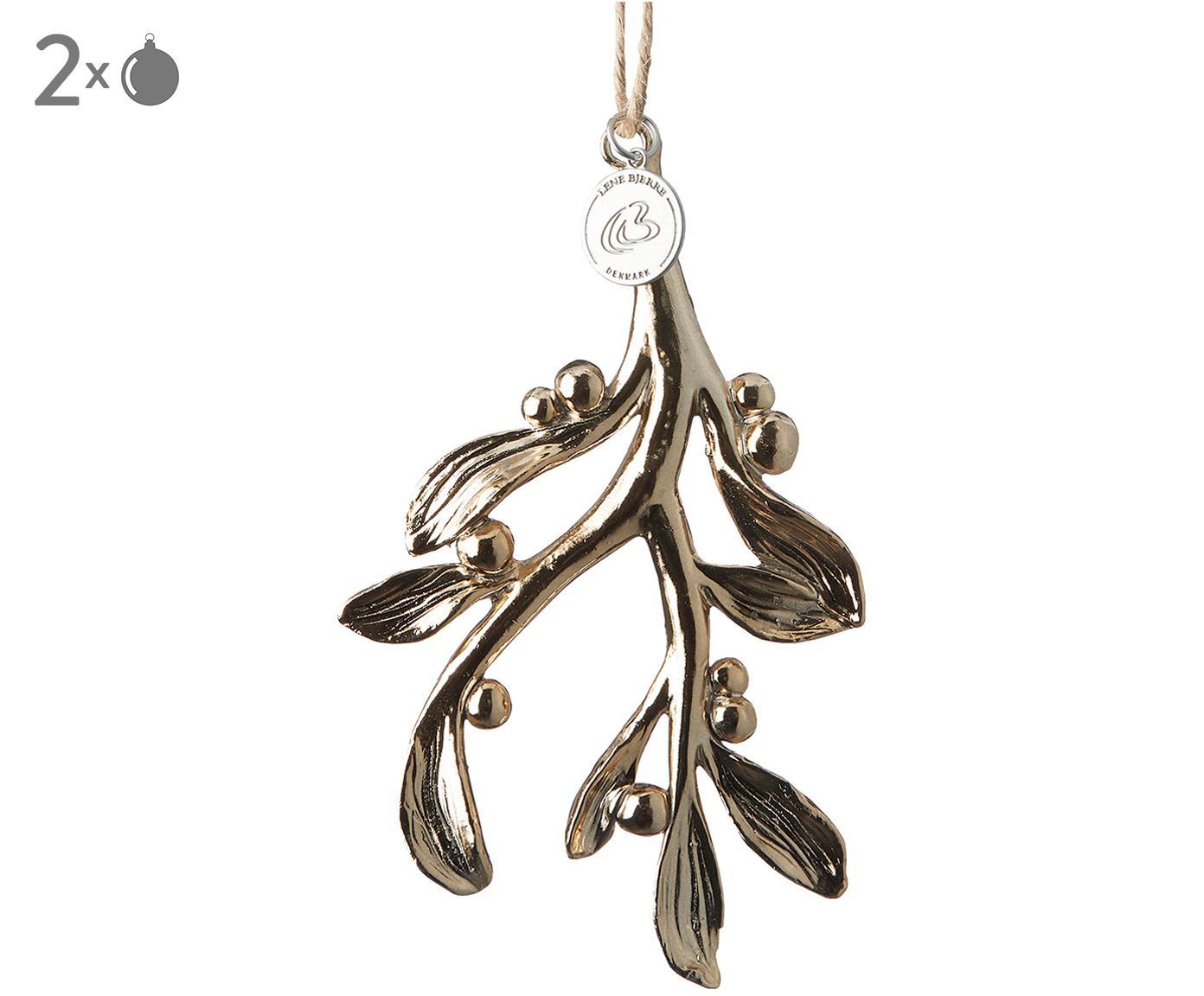 Baumanhänger Serafina Mistletoe, 2 Stück, Goldfarben, 7 x 11 cm