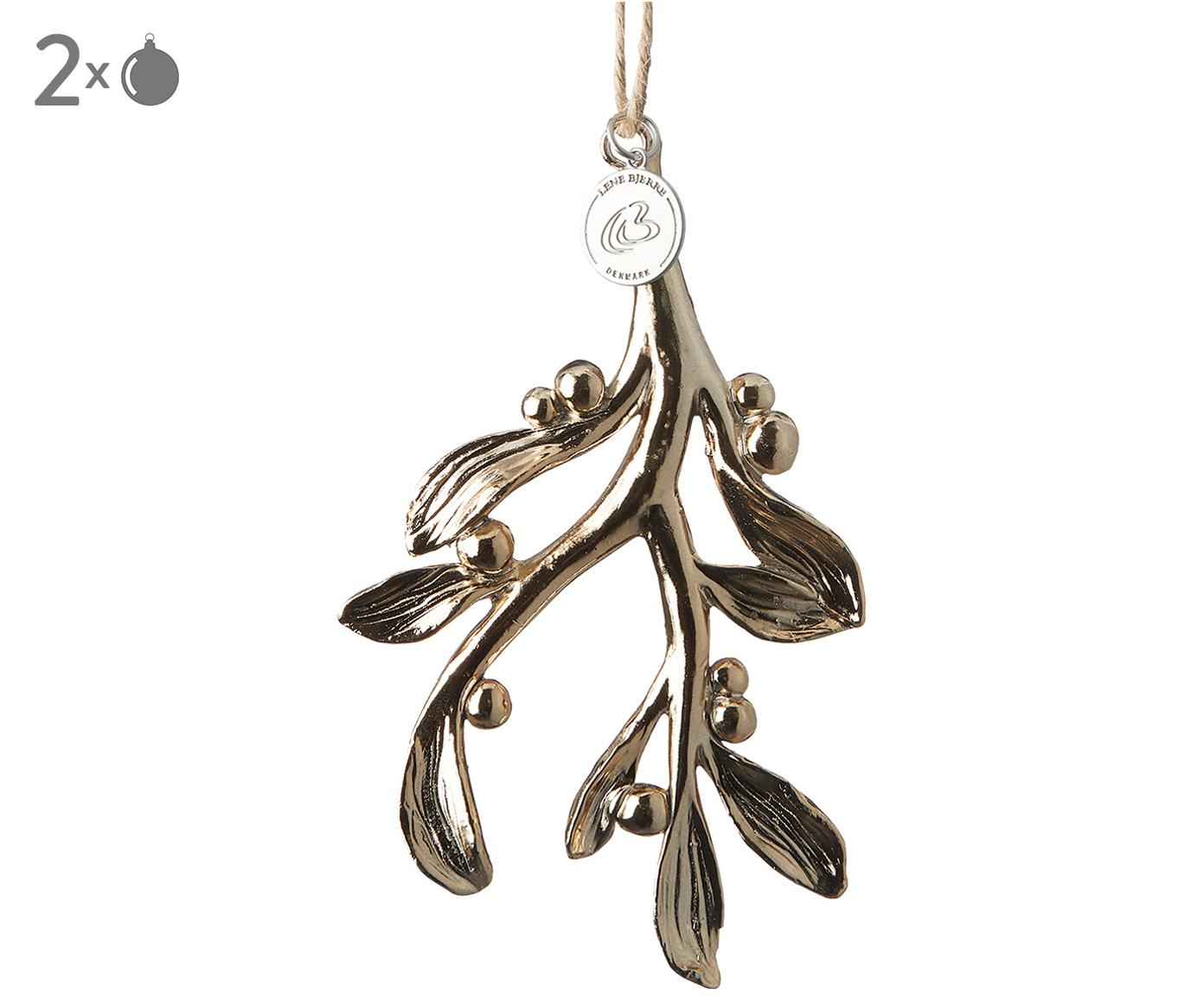 Boomhangers Serafina Mistletoe, 2 stuks, Goudkleurig, 7 x 11 cm
