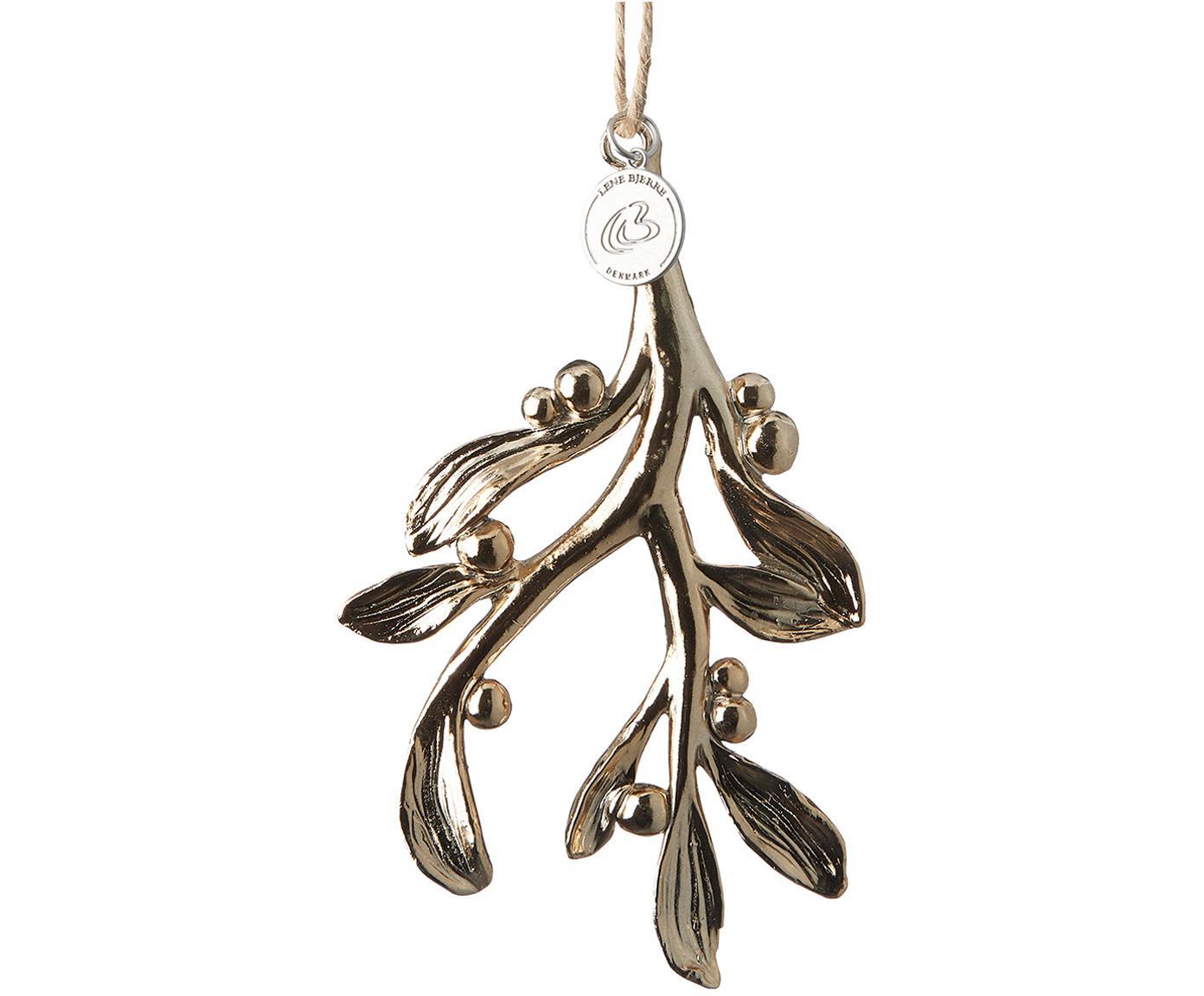 Ozdoba choinkowa Serafina Mistletoe, 2 szt., Odcienie złotego, S 7 x W 11 cm