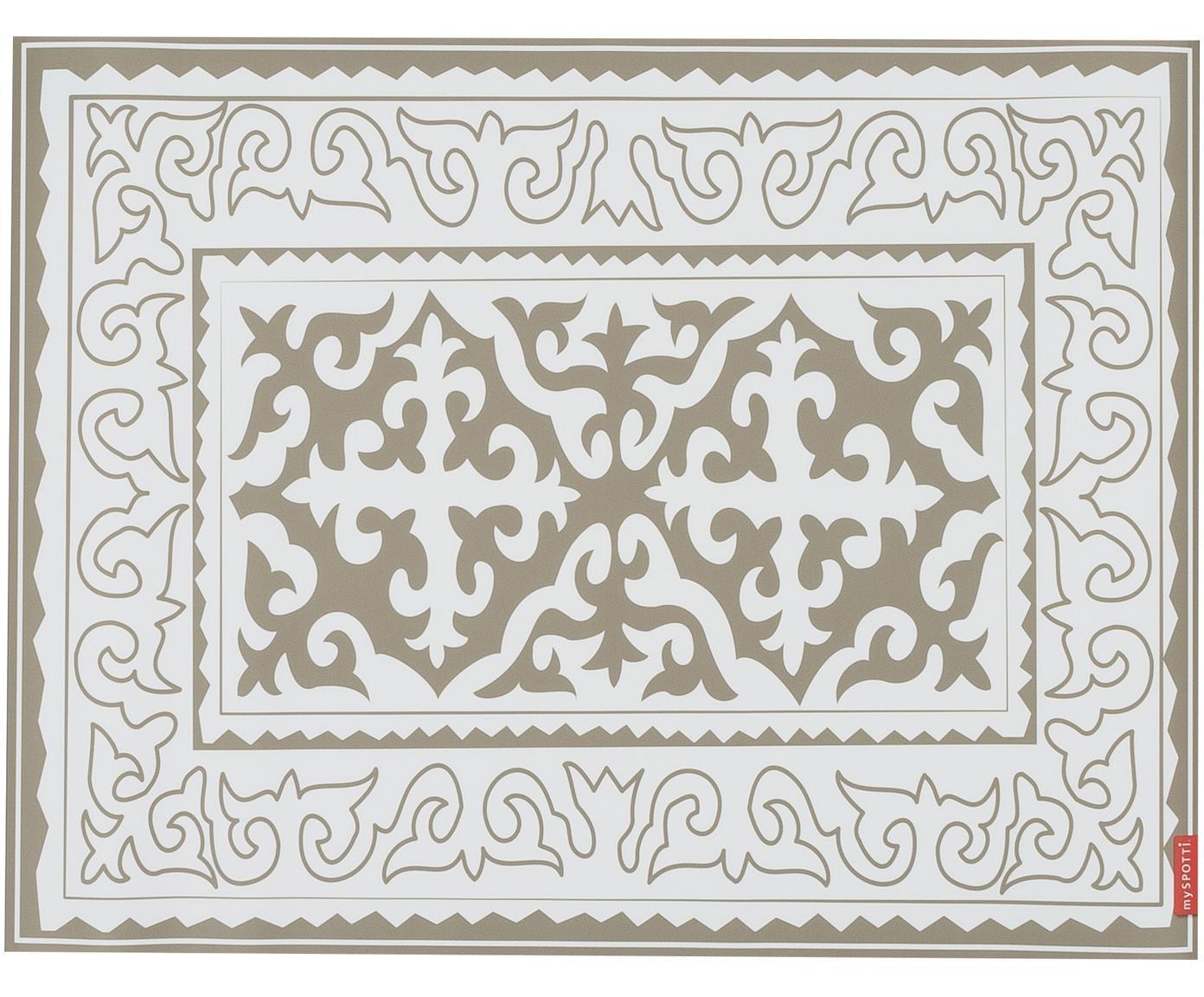 Vinyl-Bodenmatte Aksana, Vinyl, Weiß, Taupe, 65 x 85 cm