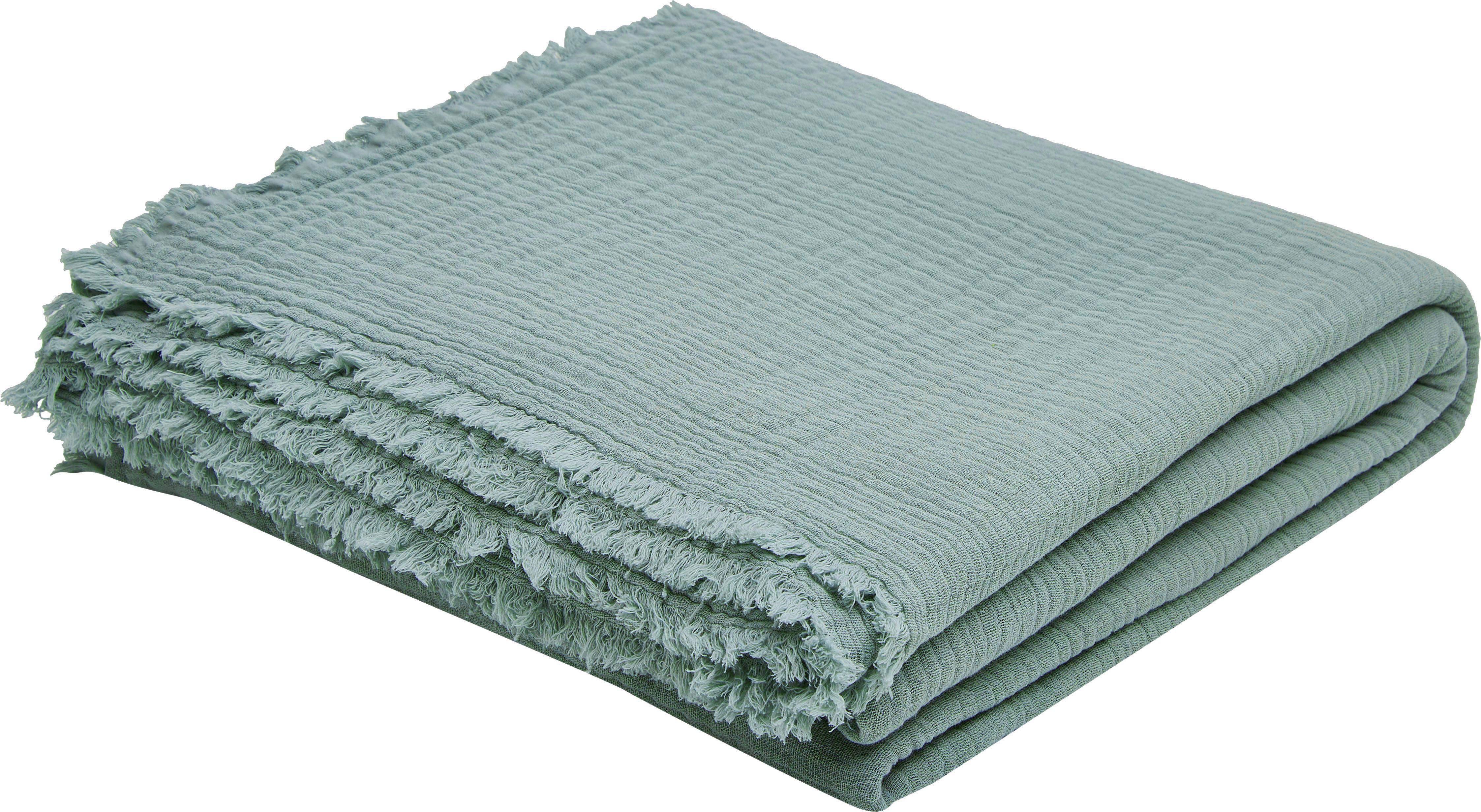 Tagesdecke Vanly aus weichem Baumwollmusselin, 100% Baumwollmusselin, Graugrün, 240 x 260 cm