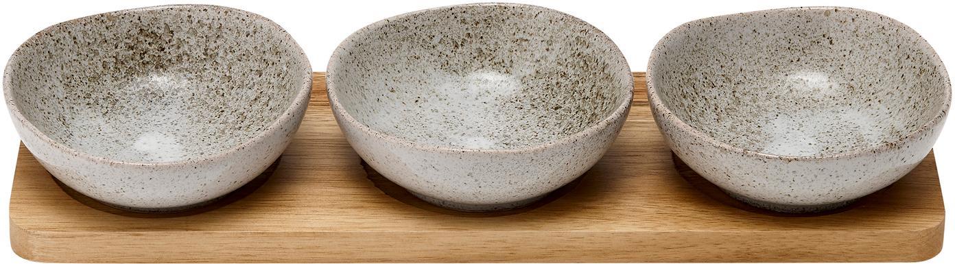 Komplet miseczek z porcelany i drewna akacjowego Artisan, 4elem., Porcelana, drewno akacjowe, Szary, drewno akacjowe, Komplet z różnymi rozmiarami