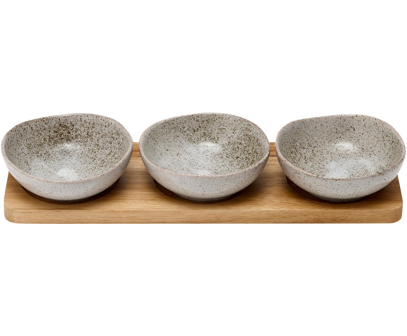 Schälchen Artisan aus Porzellan und Akazienholz, 4er-Set, Schälchen: Porzellan, Tablett: Akazienholz, Grau, Akazienholz, Sondergrößen