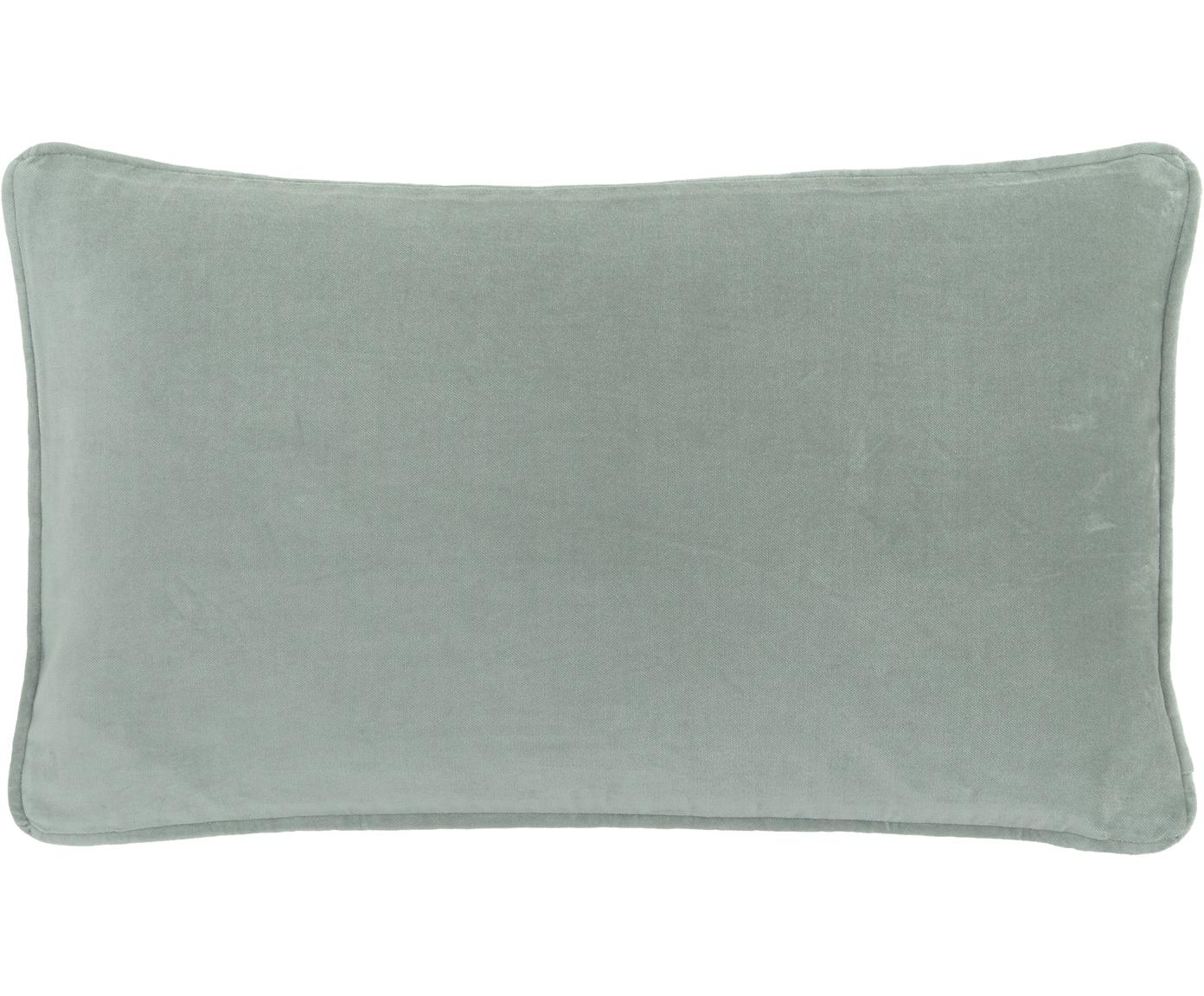 Effen fluwelen kussenhoes Dana in saliegroen, Katoenfluweel, Saliegroen, 30 x 50 cm