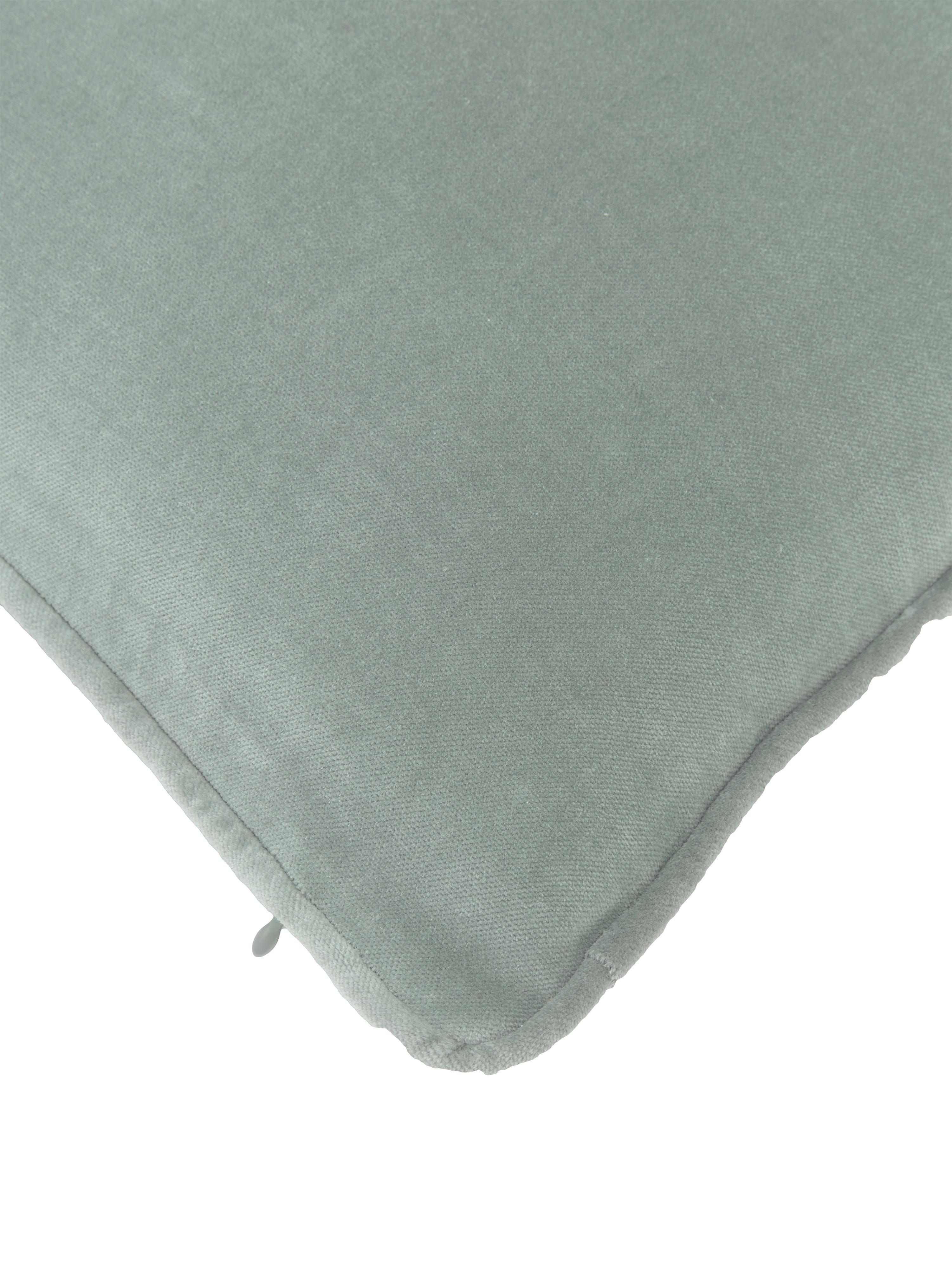 Jednobarevný sametový povlak na polštář Dana, Šalvějově zelená