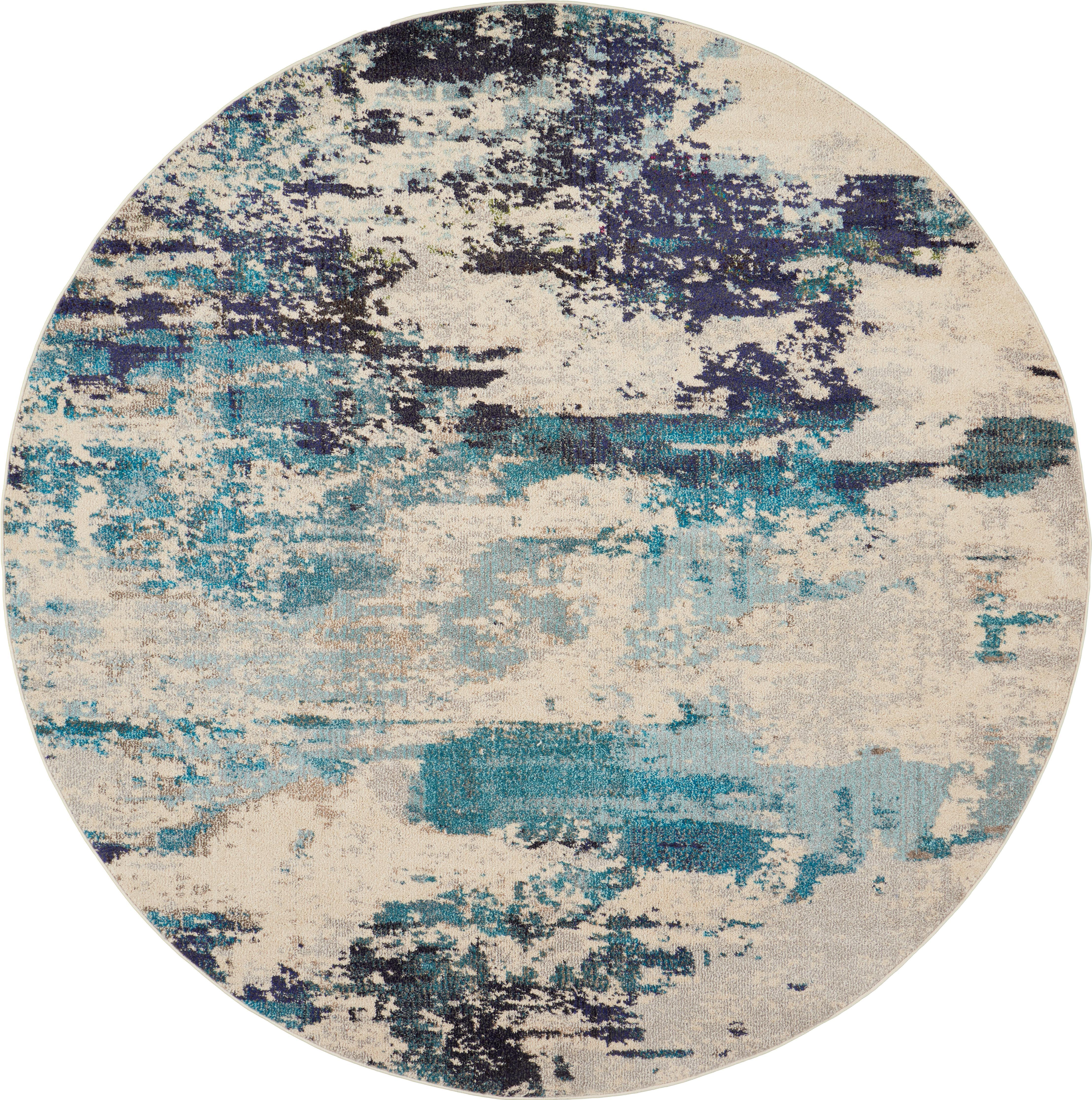 Okrągły dywan Celestial Round, Odcienie kości słoniowej, odcienie niebieskiego, Ø 160 cm (Rozmiar L)