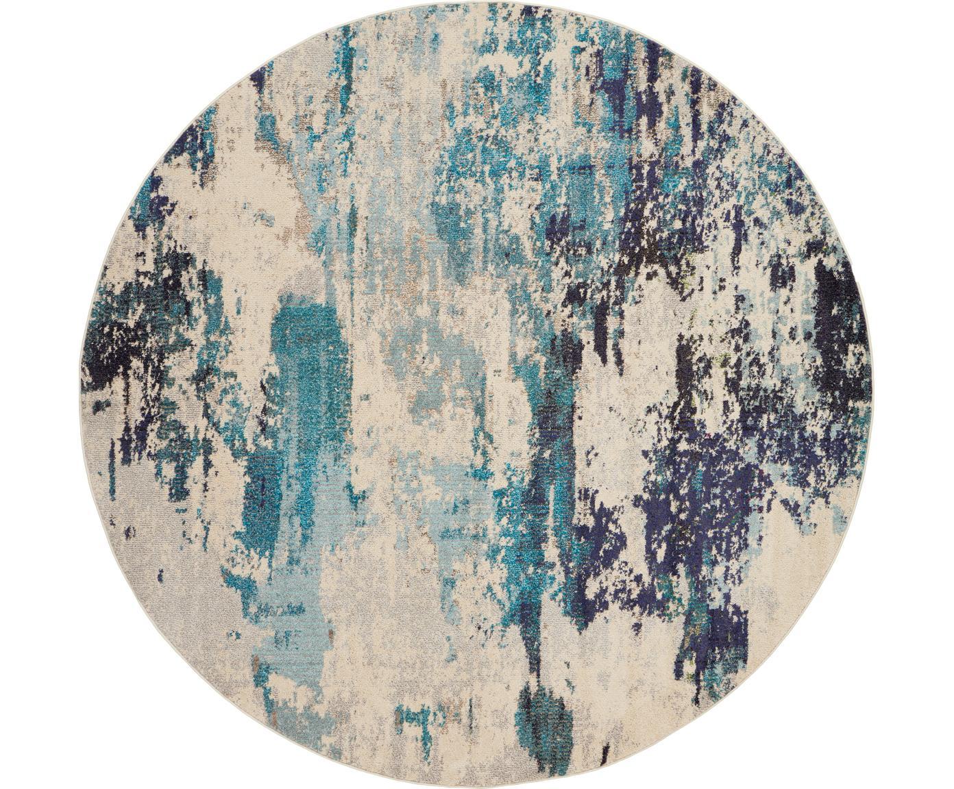 Rond design vloerkleed Celestial in blauw-crèmekleur, Bovenzijde: polypropyleen, Onderzijde: jute, Ivoorkleurig, blauwtinten, Ø 160 cm